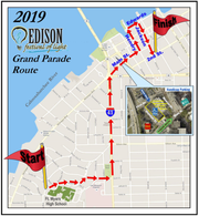 The 2019 Edison Festival of Light Grand Parade route