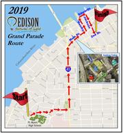 The 2019 Edison Festival of Light Grand Parade route