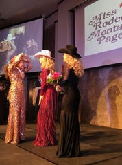 Kaitlin Kolka passes on her crown to the new Miss Rodeo Montana Kayla Seaman of Kalispell on Saturday at the Heritage Inn.