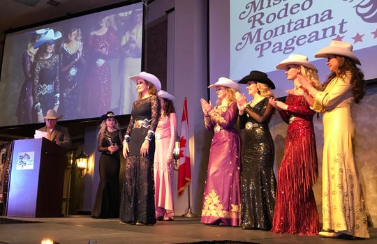 Rebecca Stroh of Harlem steps forward as she's announced as the 2019 Miss Rodeo Montana on Saturday at the Heritage Inn.