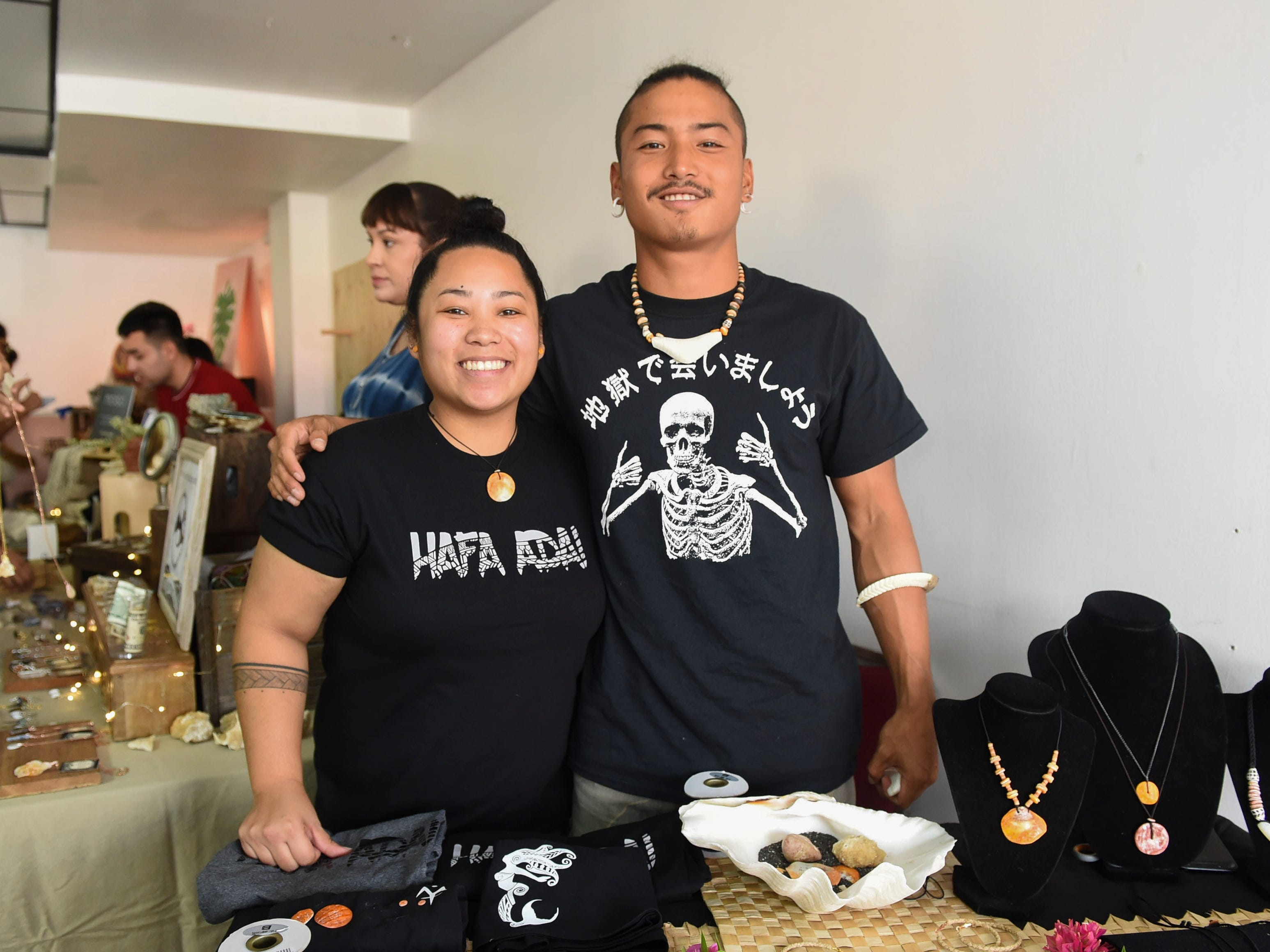 Makmåta Tribe co-founders Kai San Nicolas, left, and Hila'an San Nicolas during the Maga'håga Rising launch party at Sundays Guam in Tumon, Jan. 13, 2018.
