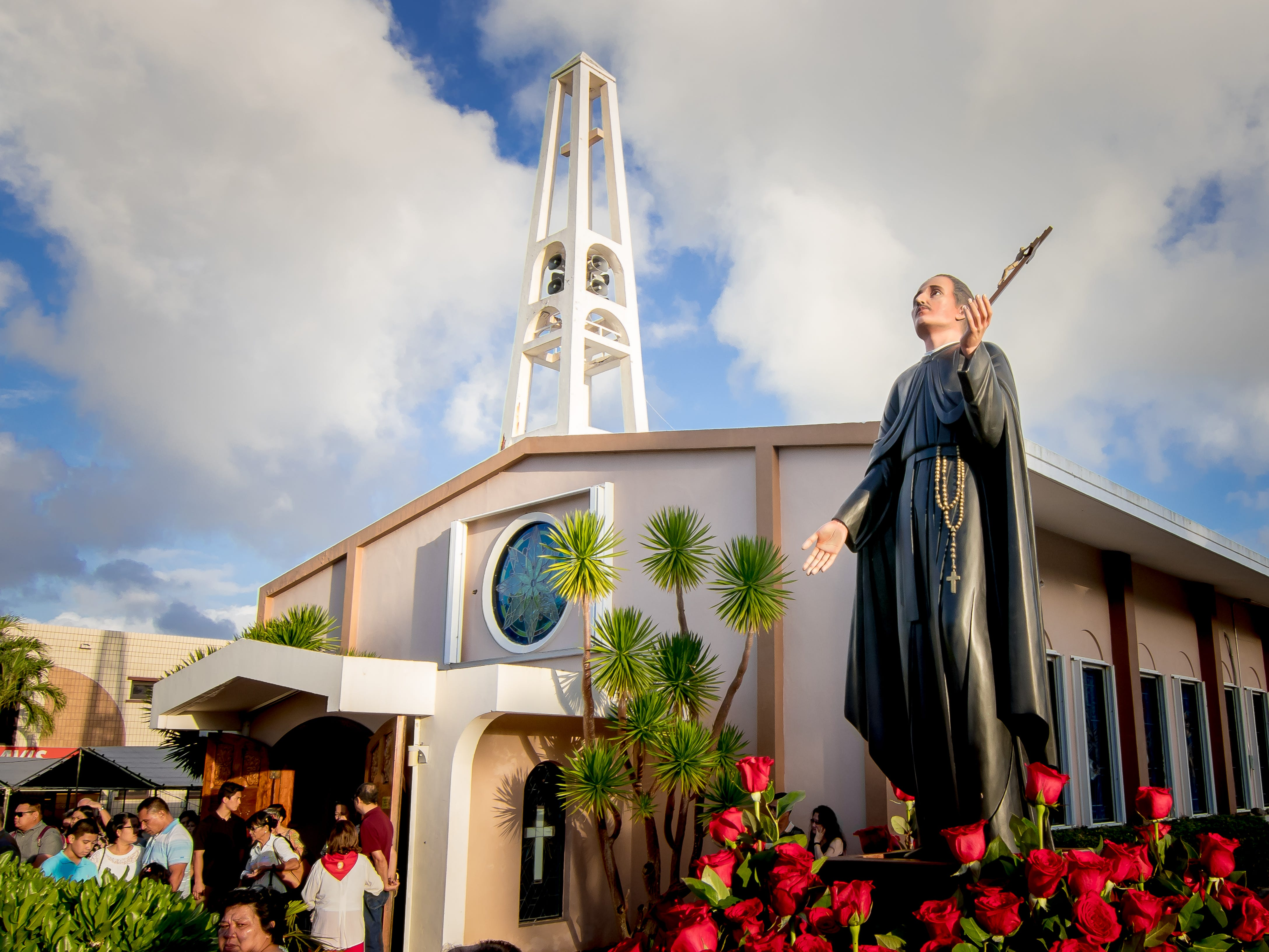 Faithful Catholics attend the procession of the statue of Blessed Diego Luis de San Vitores during the Celebration of Feast of San Vitores in Tumon on Jan. 12.