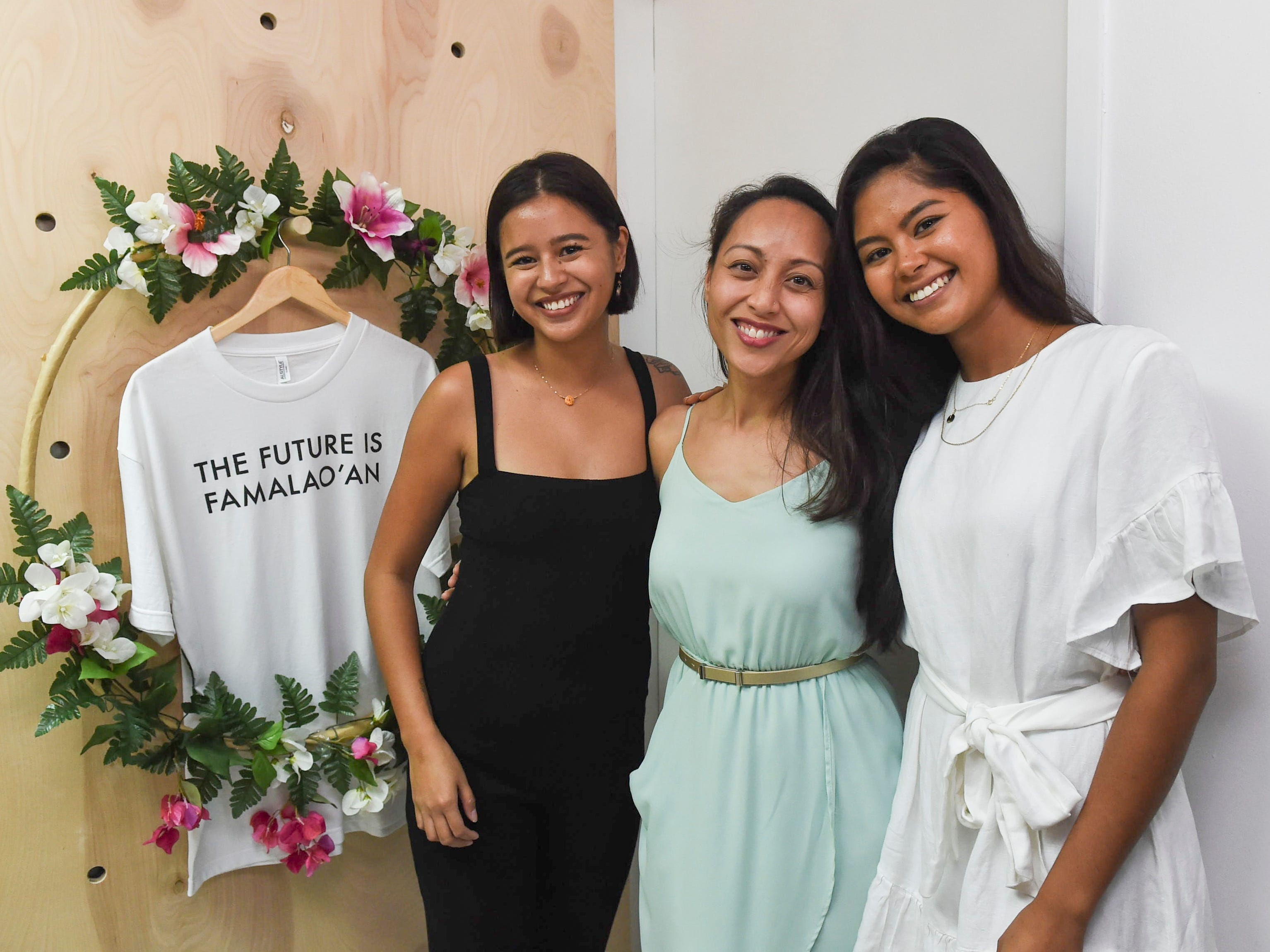 Sen. Regine Biscoe Lee, center, with Maga'håga Rising co-founders Chloe Babuta, left, and Franceska De Oro during their group launch party at Sundays Guam in Tumon, Jan. 13, 2018.