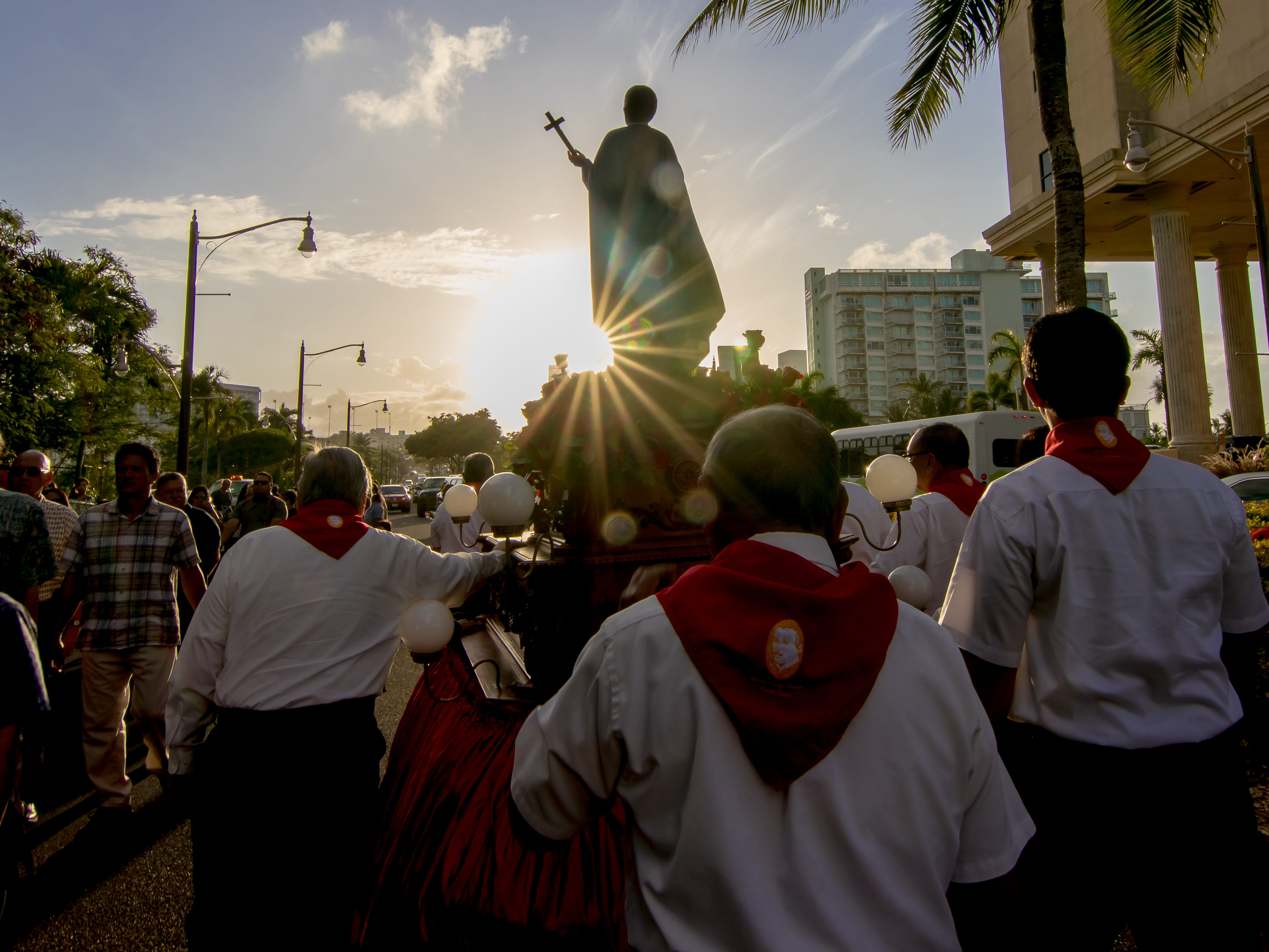 Parishioners in Tumon and other Catholics participate in a procession of Blessed Diego Luis de San Vitores during the Celebration of Feast of San Vitores in Tumon on Jan. 12.