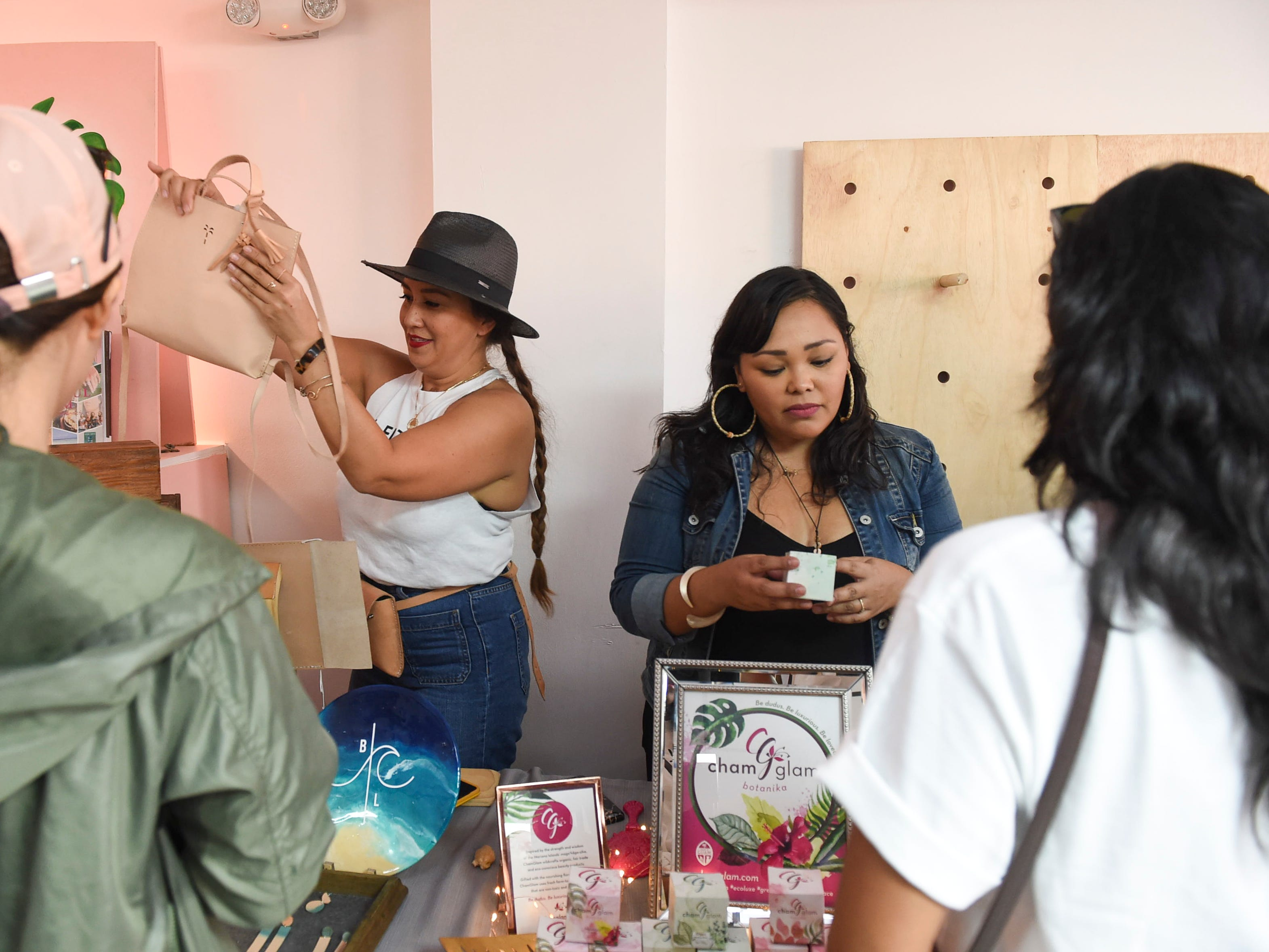 A launch party featuring locally-owned small business vendors, music entertainment, and guided meditation is held for women's group, Maga'håga Rising, at Sundays Guam in Tumon, Jan. 13, 2018.