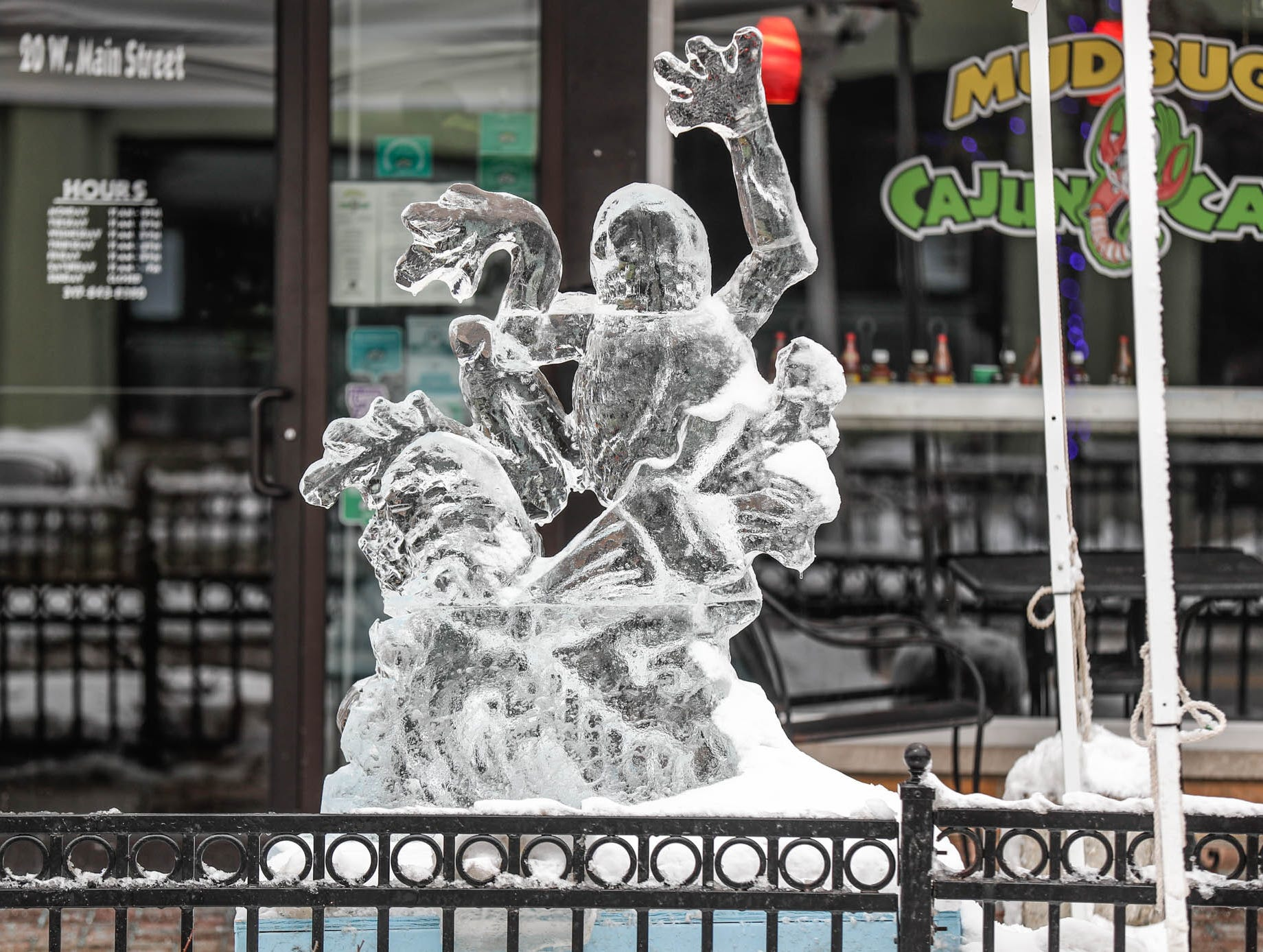 An ice sculpture sits on display outside Mudbugs Cajun Cafe during the second annual Carmel Festival of Ice, held  in Carmel Ind. on Sunday, Jan. 13, 2019.