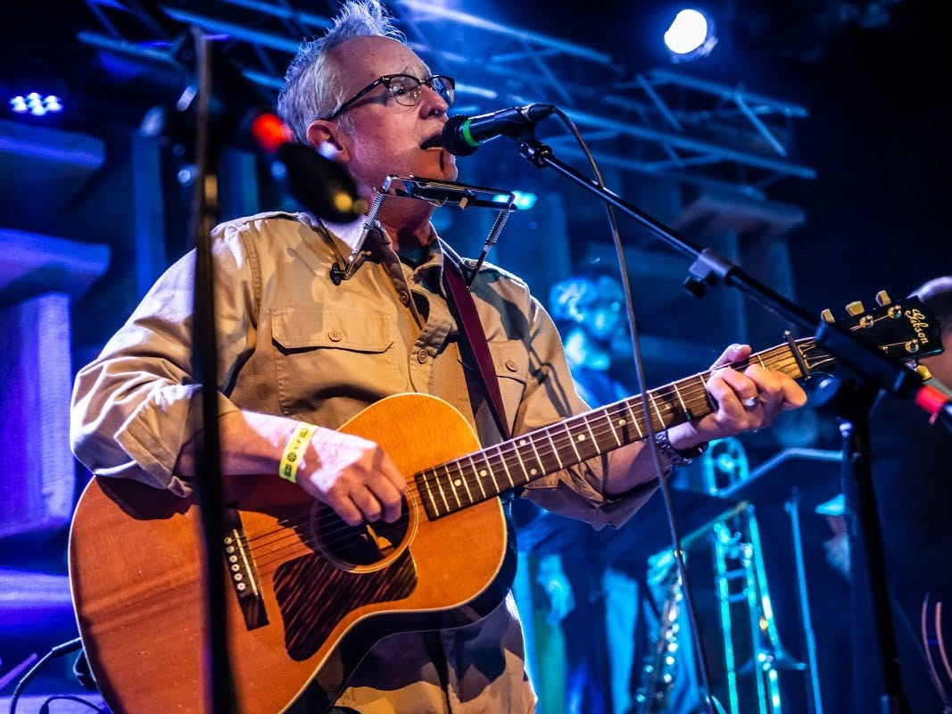 """Gary Wasson portrays Neil Young during Saturday's """"Such a Night"""" fundraiser for GiGi's Playhouse Indianapolis at the Hi-Fi."""