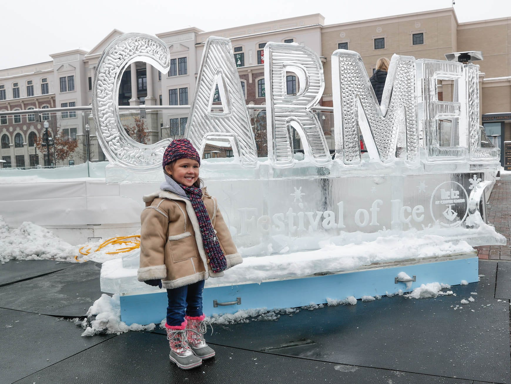 Hattie Jones poses for a photo during the second annual Carmel Festival of Ice, held at Center Green in Carmel Ind. on Sunday, Jan. 13, 2019.