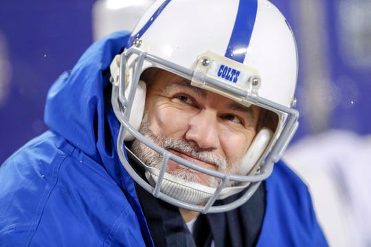 Indianapolis Colts kicker Adam Vinatieri (4) watches the game from the bench in the fourth quarter at Arrowhead Stadium in Kansas City, Mo., on Saturday, Jan. 12, 2019.