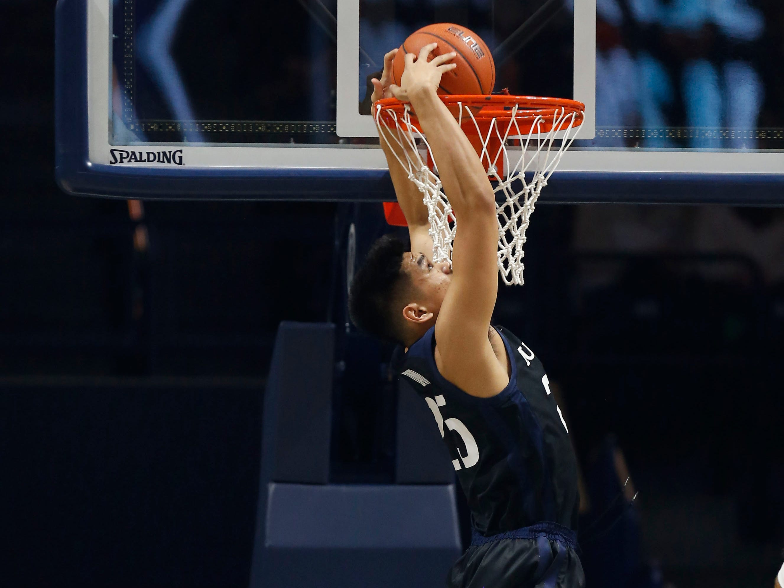 Jan 13, 2019; Cincinnati, OH, USA; Butler Bulldogs forward Christian David (25) dunks during the first half against the Xavier Musketeers at the Cintas Center.