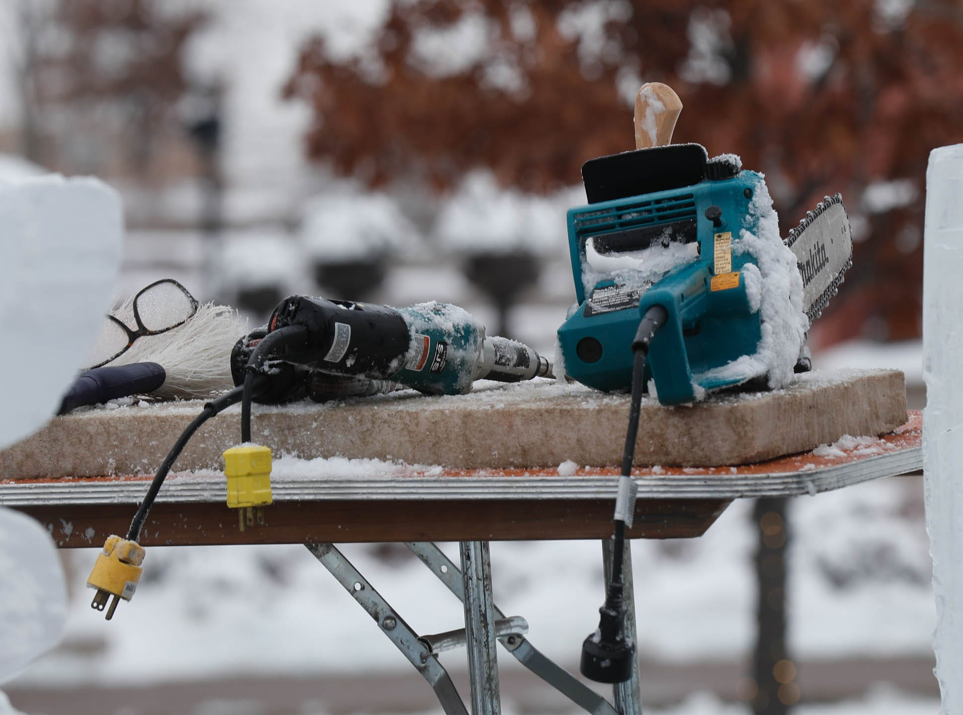 "Sculptor Stephan Koch uses a uses an array of carving tools during a speed ""carve off"" which took place during the second annual Carmel Festival of Ice, held at Center Green in Carmel Ind. on Sunday, Jan. 13, 2019."