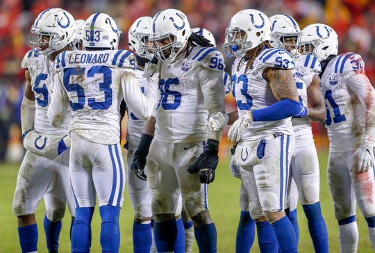 The Indianapolis Colts defense gets the call from outside linebacker Darius Leonard (53) against the Kansas City Chiefs in the third quarter at Arrowhead Stadium in Kansas City, Mo., on Saturday, Jan. 12, 2019.