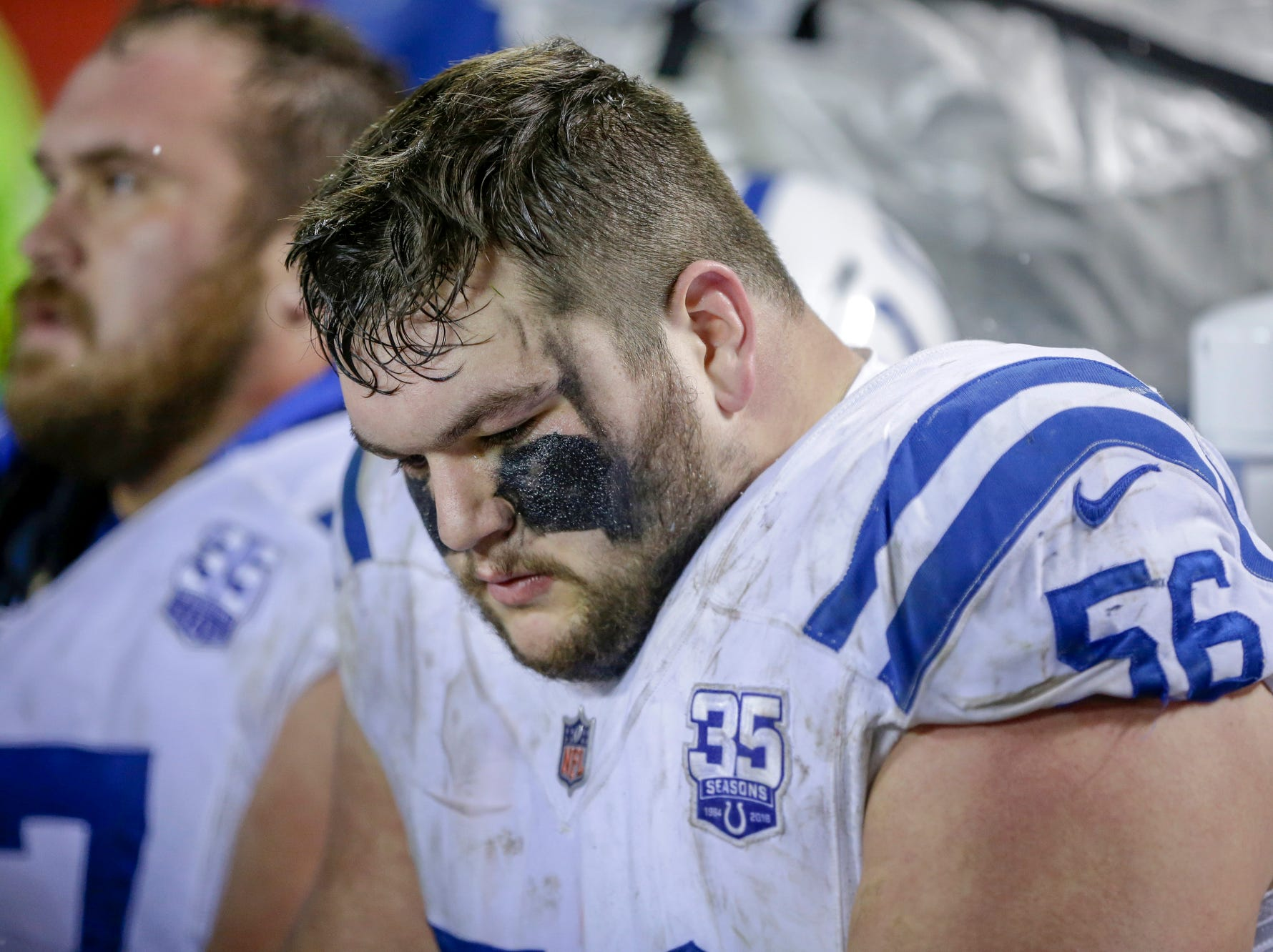Indianapolis Colts offensive guard Quenton Nelson (56) sits on the sideline late in the game against the Kansas City Chiefs in the fourth quarter at Arrowhead Stadium in Kansas City, Mo., on Saturday, Jan. 12, 2019.