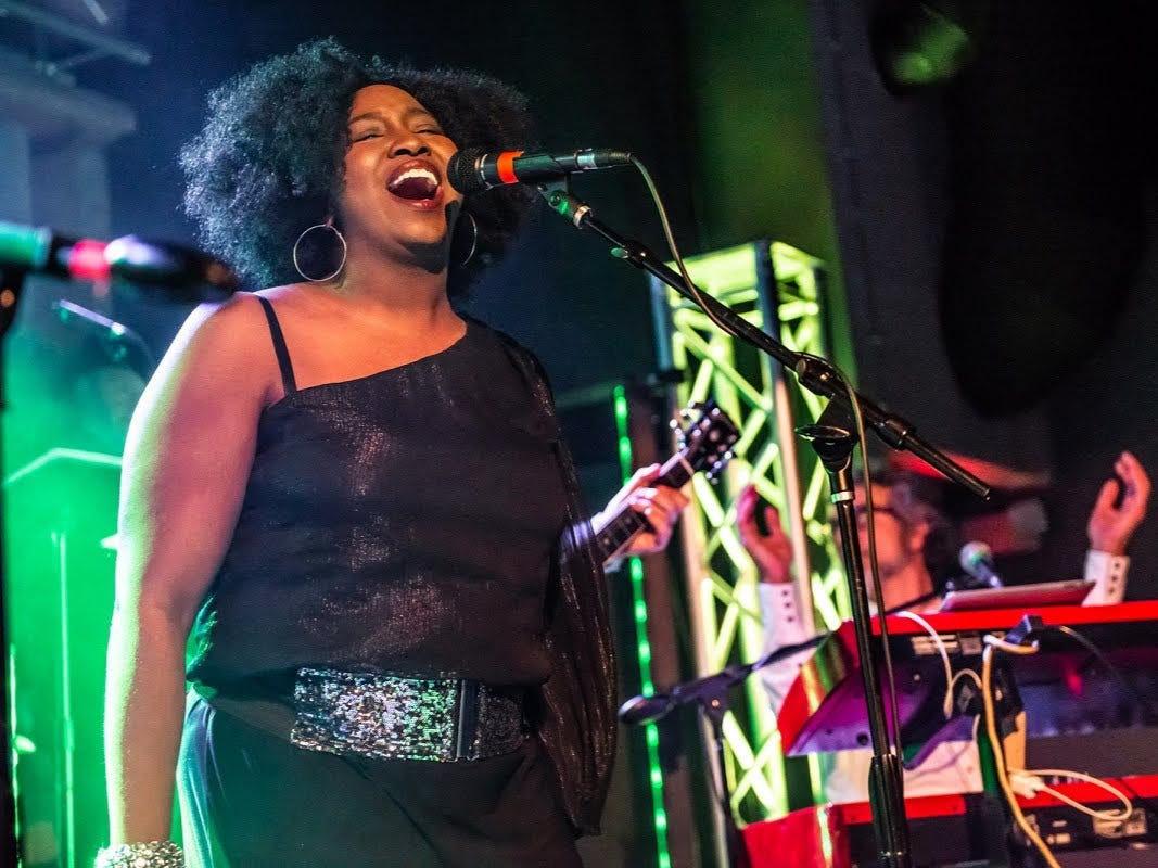 """Jamika Jones portrays a Staple Singer during Saturday's """"Such a Night"""" fundraiser for GiGi's Playhouse Indianapolis at the Hi-Fi."""