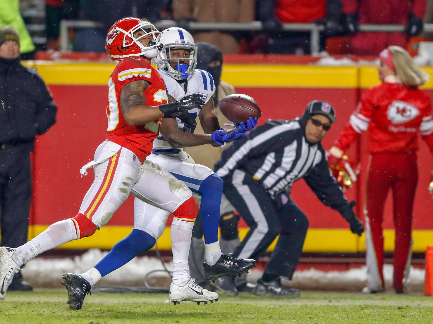 Indianapolis Colts wide receiver T.Y. Hilton (13) pulls in a touchdown pass against the Kansas City Chiefs in the fourth quarter at Arrowhead Stadium in Kansas City, Mo., on Saturday, Jan. 12, 2019.