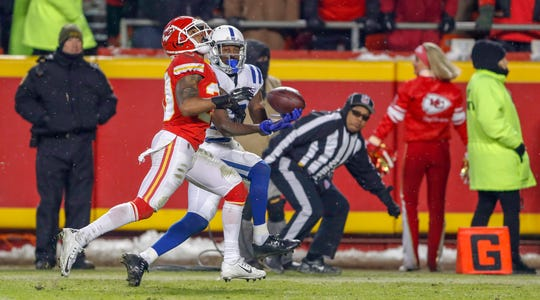 Colts wide receiver T.Y. Hilton (13) pulled in a touchdown pass against the Kansas City Chiefs in the fourth quarter Saturday at Arrowhead Stadium in Kansas City, Mo. One thing the Colts need, Gregg Doyel writes: Another elite target for quarterback Andrew Luck.