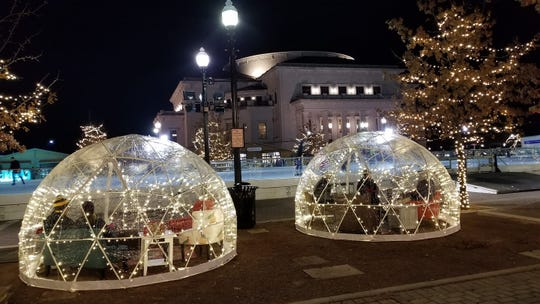Heated igloos to lounge were set up during Carmel's Festival of Ice at Center Green on Saturday, Jan. 12, 2018.