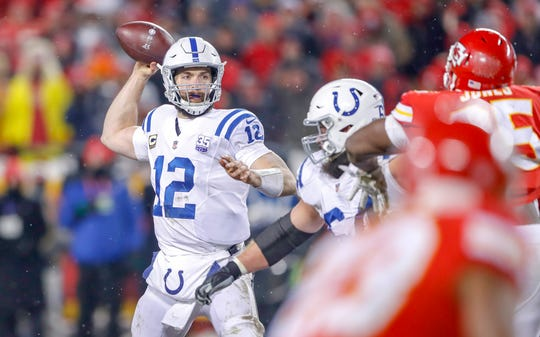 Indianapolis Colts quarterback Andrew Luck (12) throws a short pass in the fourth quarter at Arrowhead Stadium in Kansas City, Mo., on Saturday, Jan. 12, 2019.
