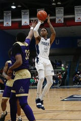 Jackson State's Venji Wallis puts up a shot during Satruday's game against Alcorn State at the Lee. E Williams Athletic and Assembly Center in Jackson.