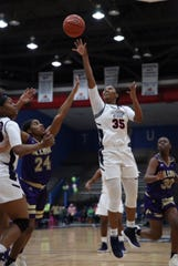 Jackson State's Chelsea Causey puts up a shot during Saturday's game against Alcorn State at the Lee E. Williams Athletic and Assembly Center in Jackson.