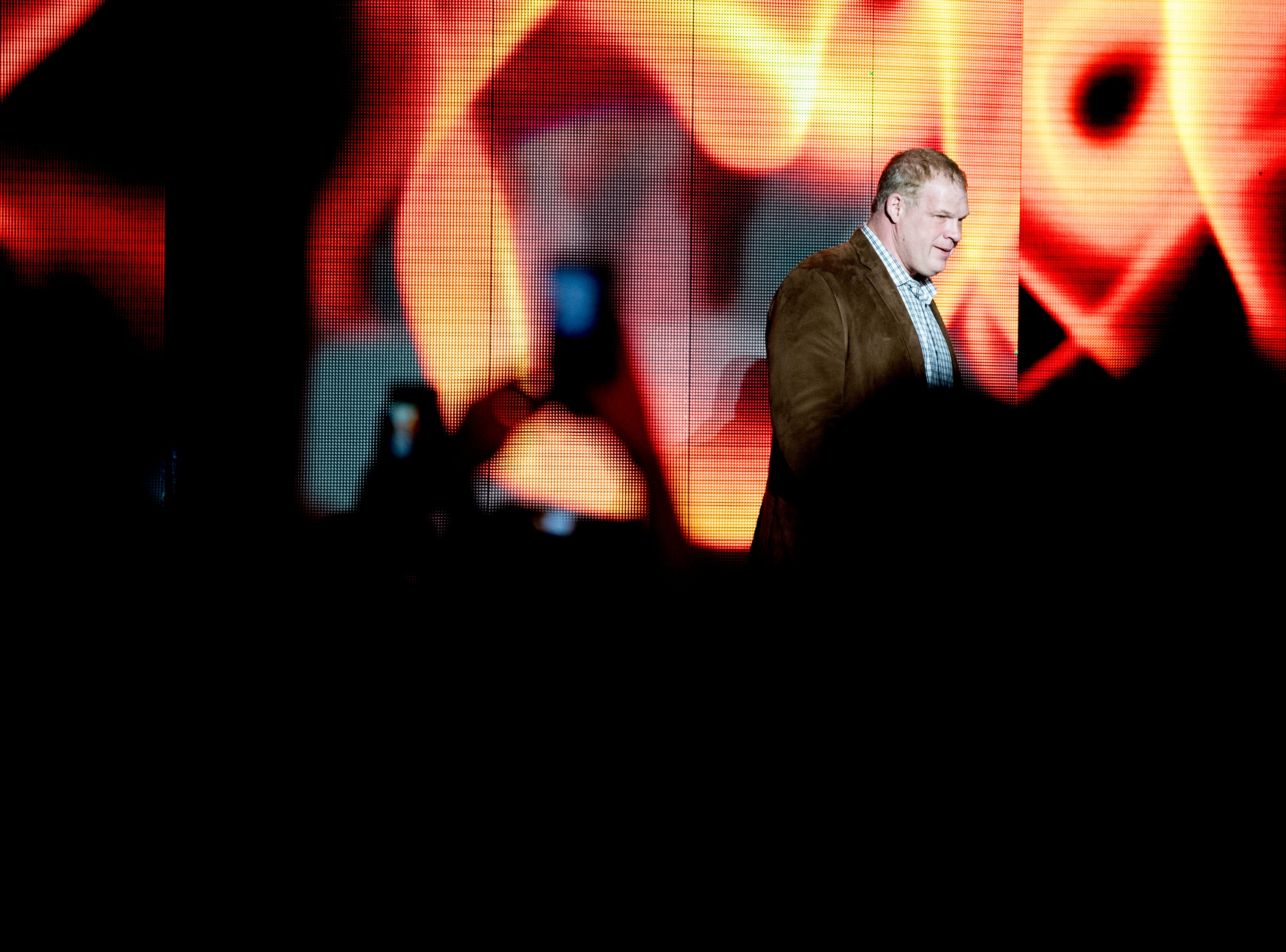Knox County Mayor Glenn Jacobs, aka WWE wrestler Kane, walks into the arena during a WWE Live performance at the Knoxville Civic Coliseum in Knoxville, Tennessee on Saturday, January 12, 2019. *KNOXVILLE NEWS SENTINEL USE ONLY*