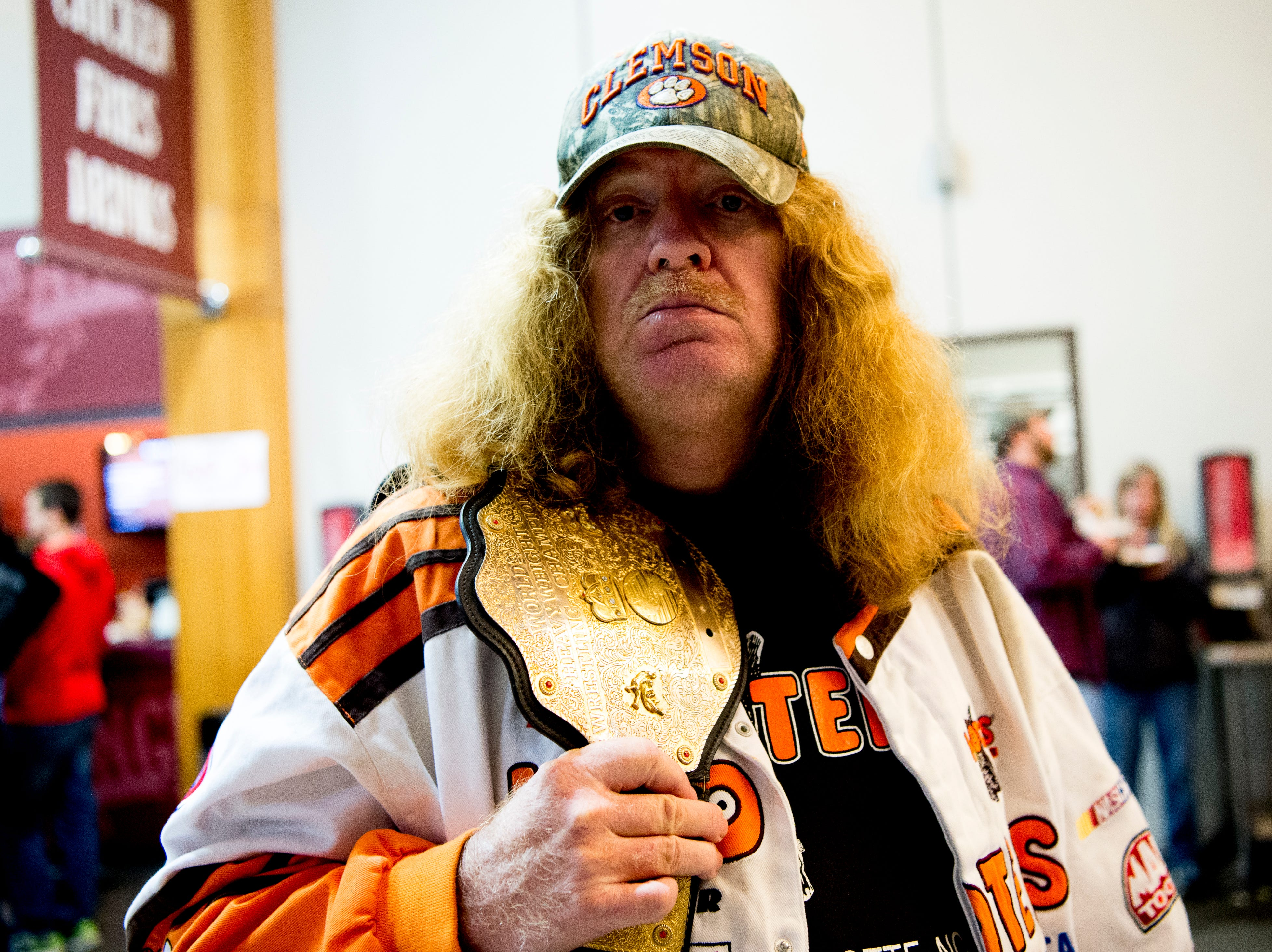 WWE fan David Arlington, of Asheville, poses for a photo during a WWE Live performance at the Knoxville Civic Coliseum in Knoxville, Tennessee on Saturday, January 12, 2019. Arlington said he watches every televised match, and if he can't watch it, he tapes it to watch later.*KNOXVILLE NEWS SENTINEL USE ONLY*