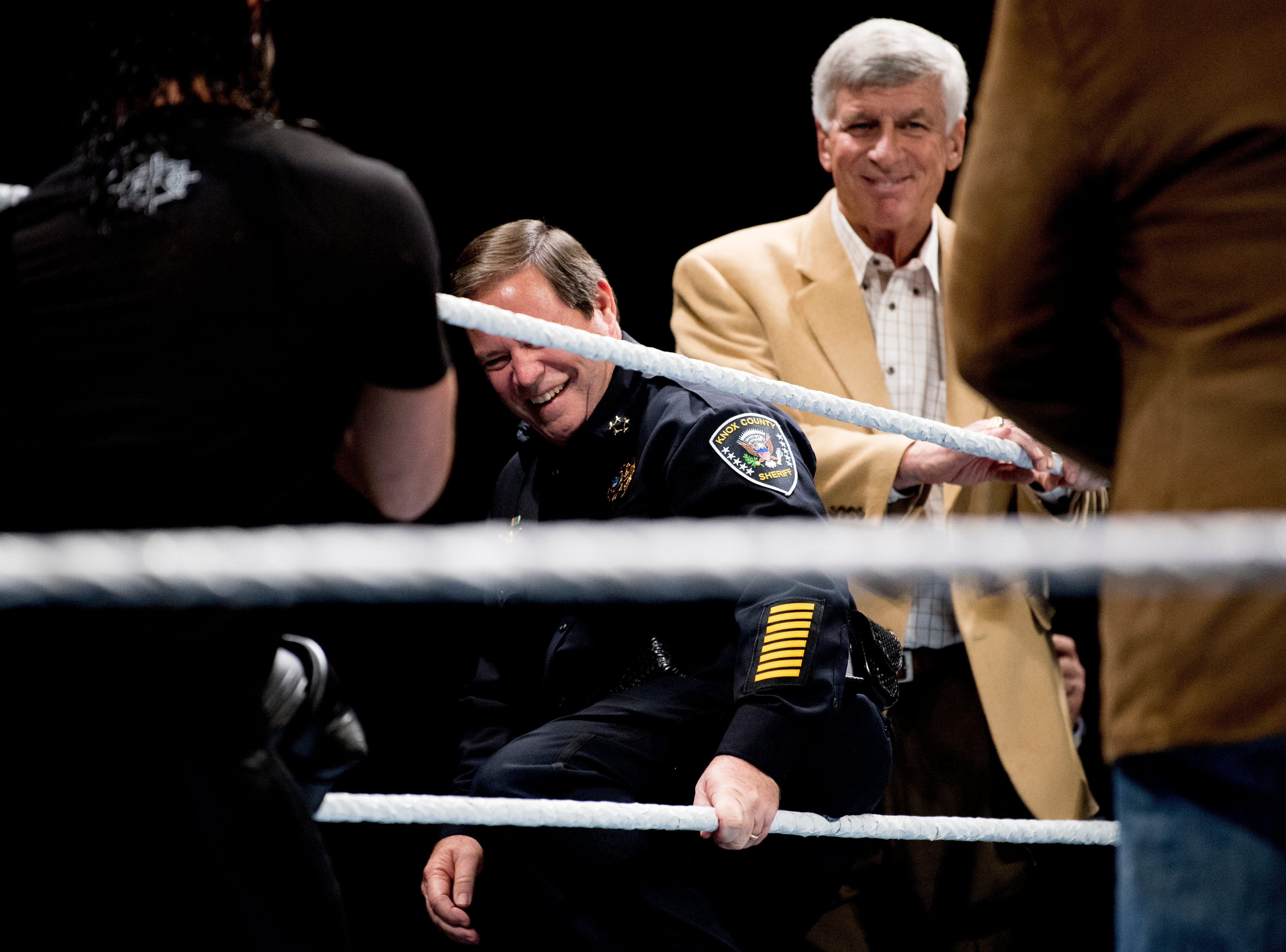 Knox County Sheriff Tom Spangler enters the ring for a check presentation during a WWE Live performance at the Knoxville Civic Coliseum in Knoxville, Tennessee on Saturday, January 12, 2019. *KNOXVILLE NEWS SENTINEL USE ONLY*