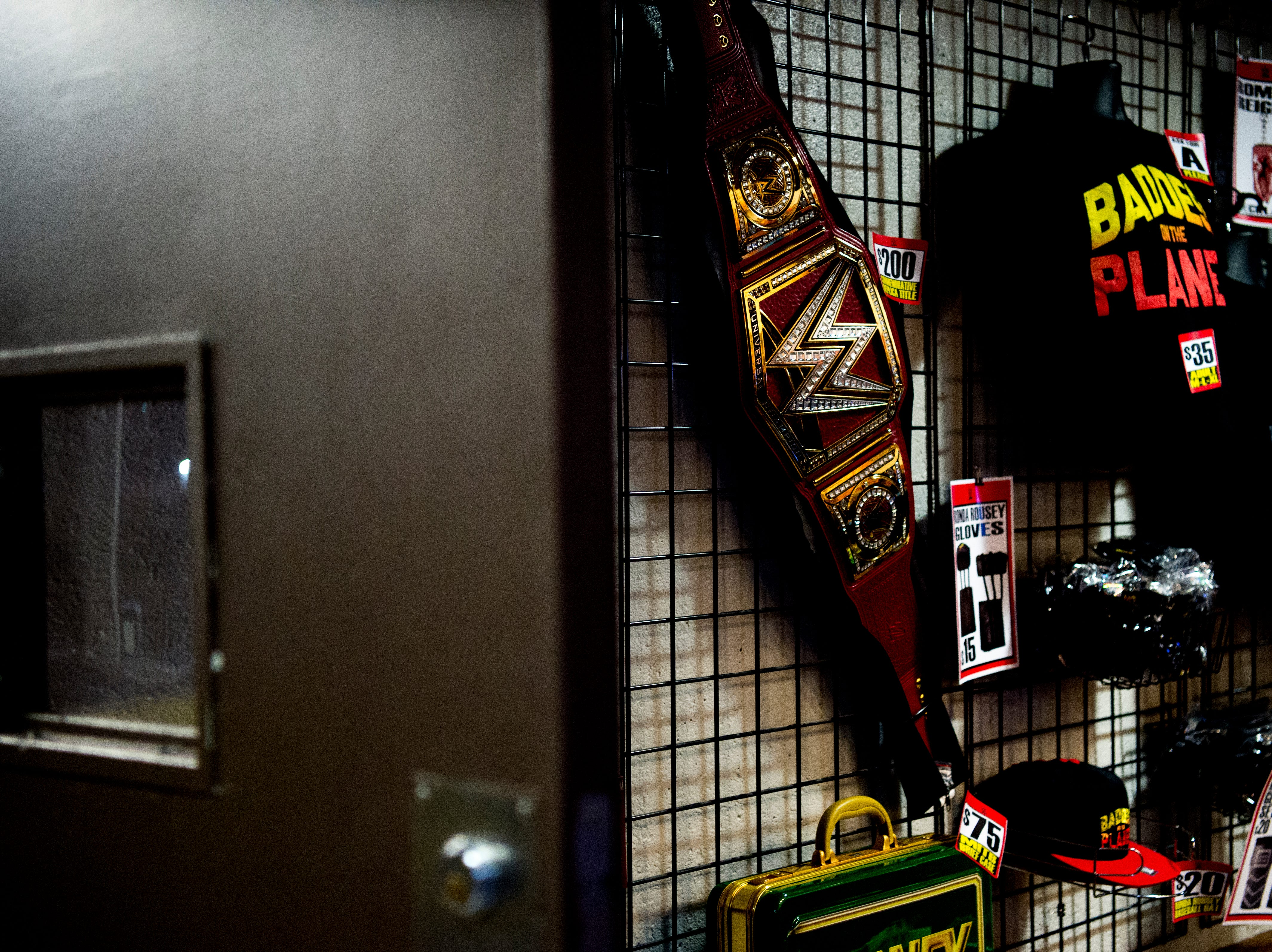 WWE paraphernalia for sale during a WWE Live performance at the Knoxville Civic Coliseum in Knoxville, Tennessee on Saturday, January 12, 2019. *KNOXVILLE NEWS SENTINEL USE ONLY*
