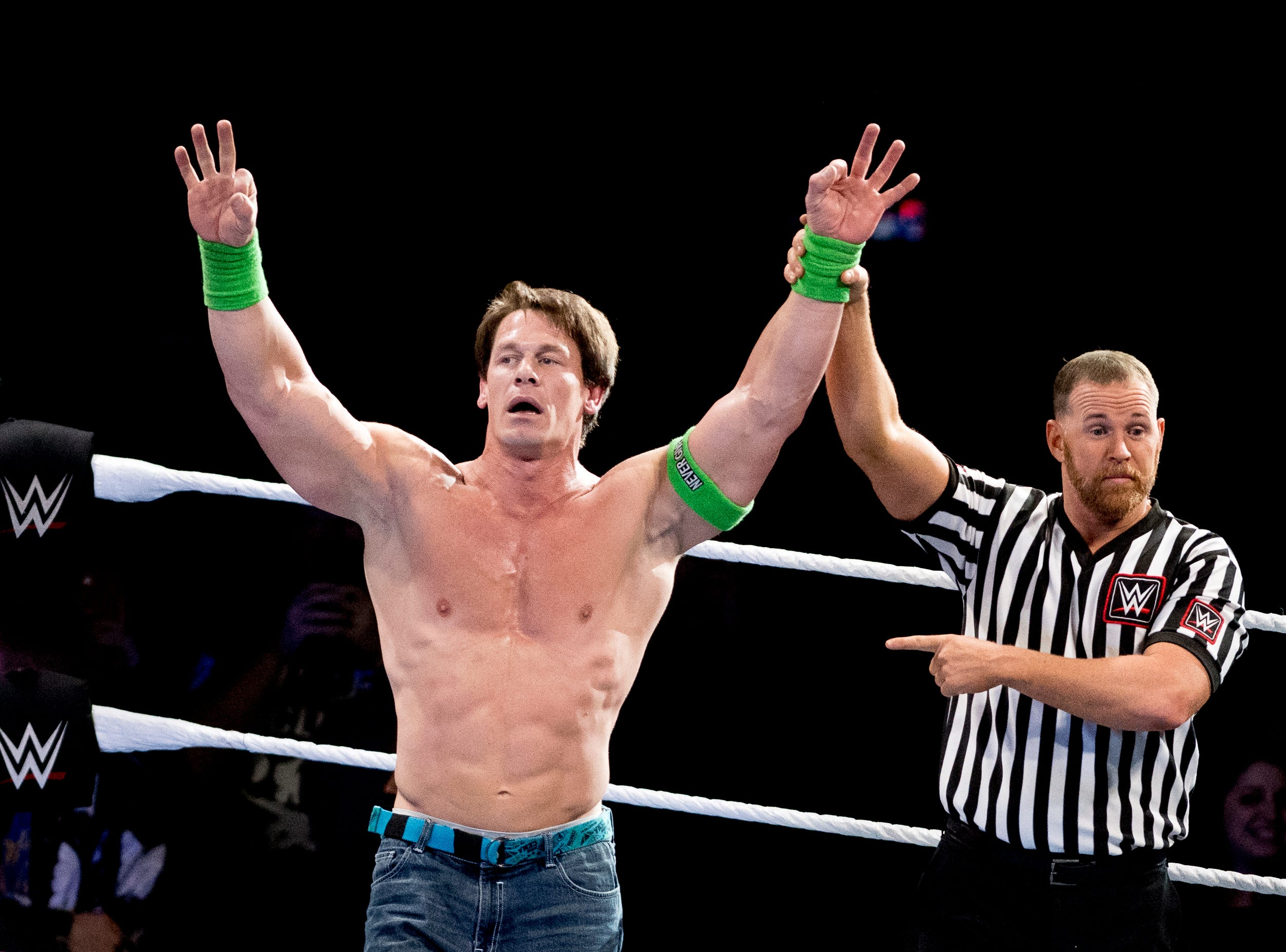 John Cena defeats Baron Corbin during a WWE Live performance at the Knoxville Civic Coliseum in Knoxville, Tennessee on Saturday, January 12, 2019. *KNOXVILLE NEWS SENTINEL USE ONLY*