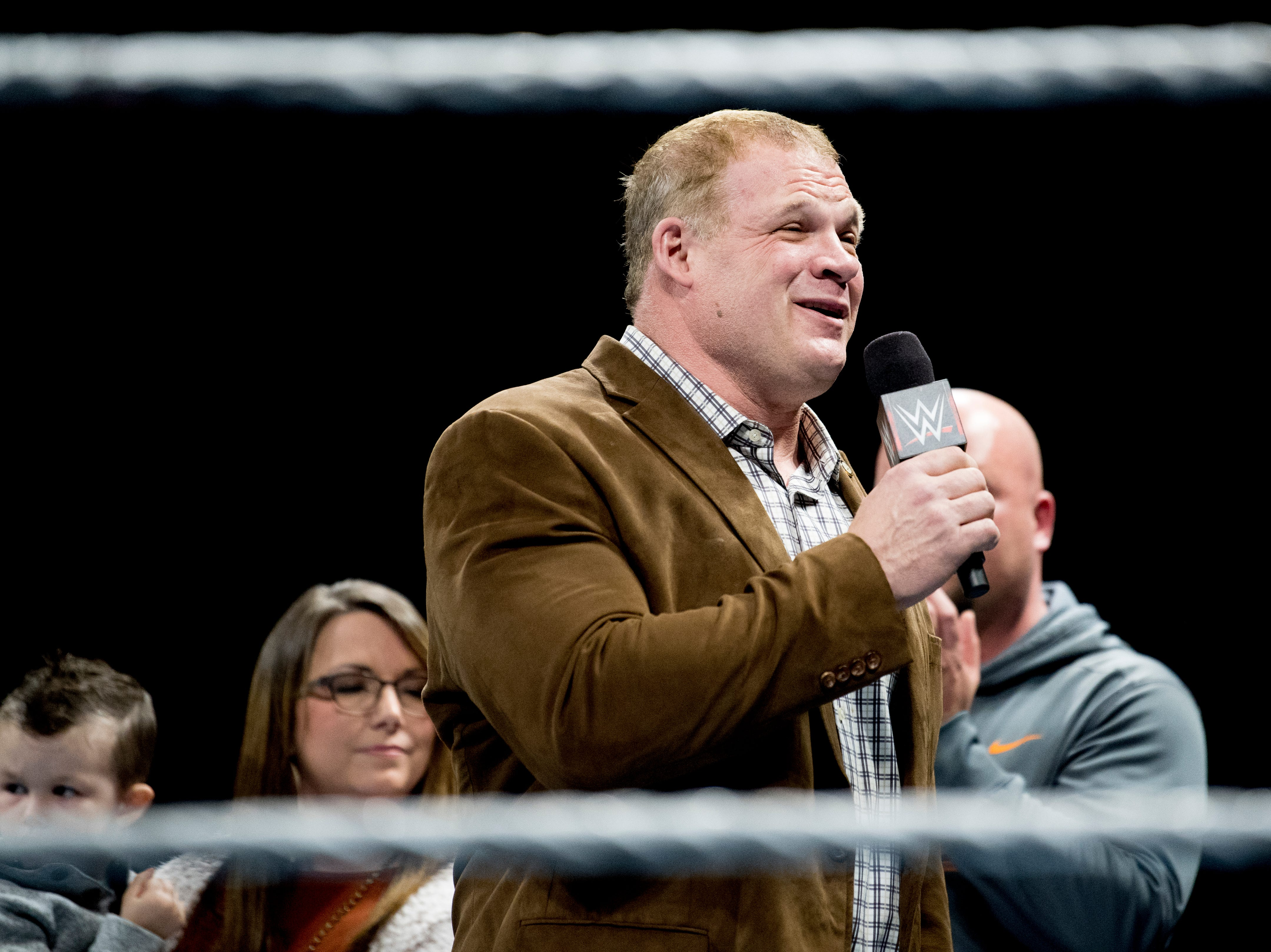 Knox County Mayor Glenn Jacobs, aka Kane, speaks during a WWE Live performance at the Knoxville Civic Coliseum in Knoxville, Tennessee on Saturday, January 12, 2019. *KNOXVILLE NEWS SENTINEL USE ONLY*