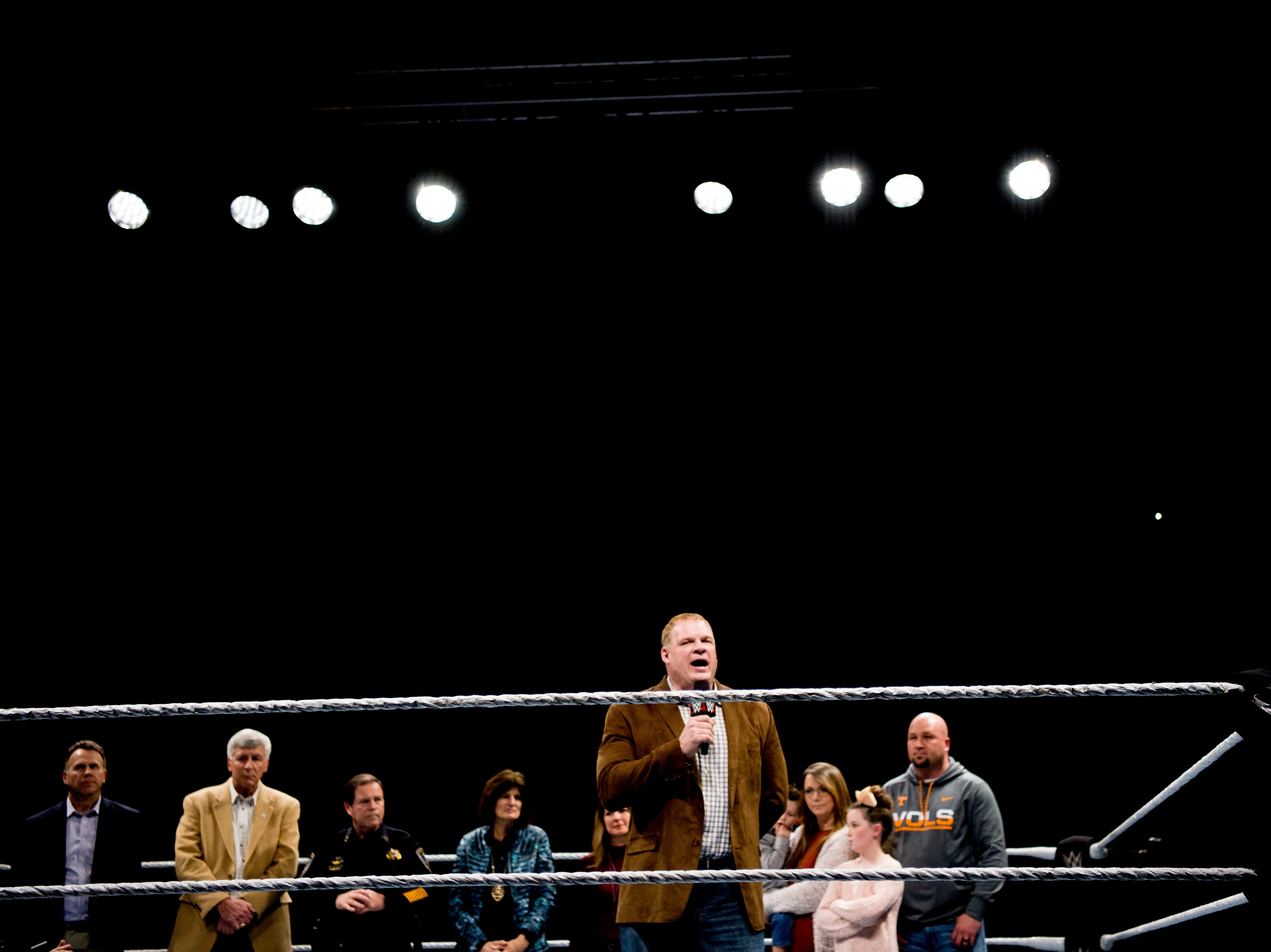 Knox County Mayor Glenn Jacobs, aka Kane, speaks during a check presentation during a WWE Live performance at the Knoxville Civic Coliseum in Knoxville, Tennessee on Saturday, January 12, 2019. *KNOXVILLE NEWS SENTINEL USE ONLY*