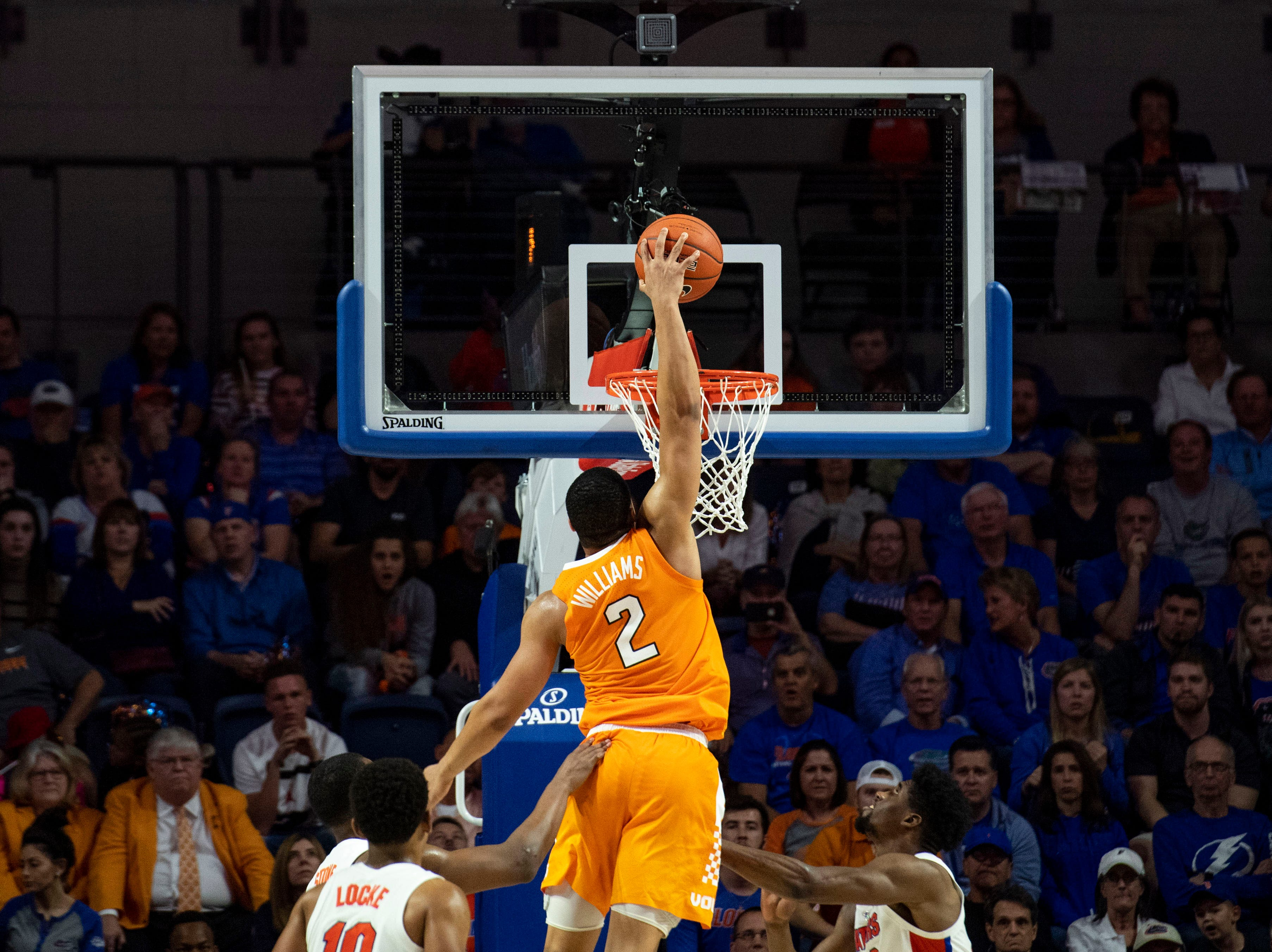 Tennessee Volunteers forward Grant Williams (2) slam dunks the ball during the second half against the Florida Gators on Jan. 12, 2019.