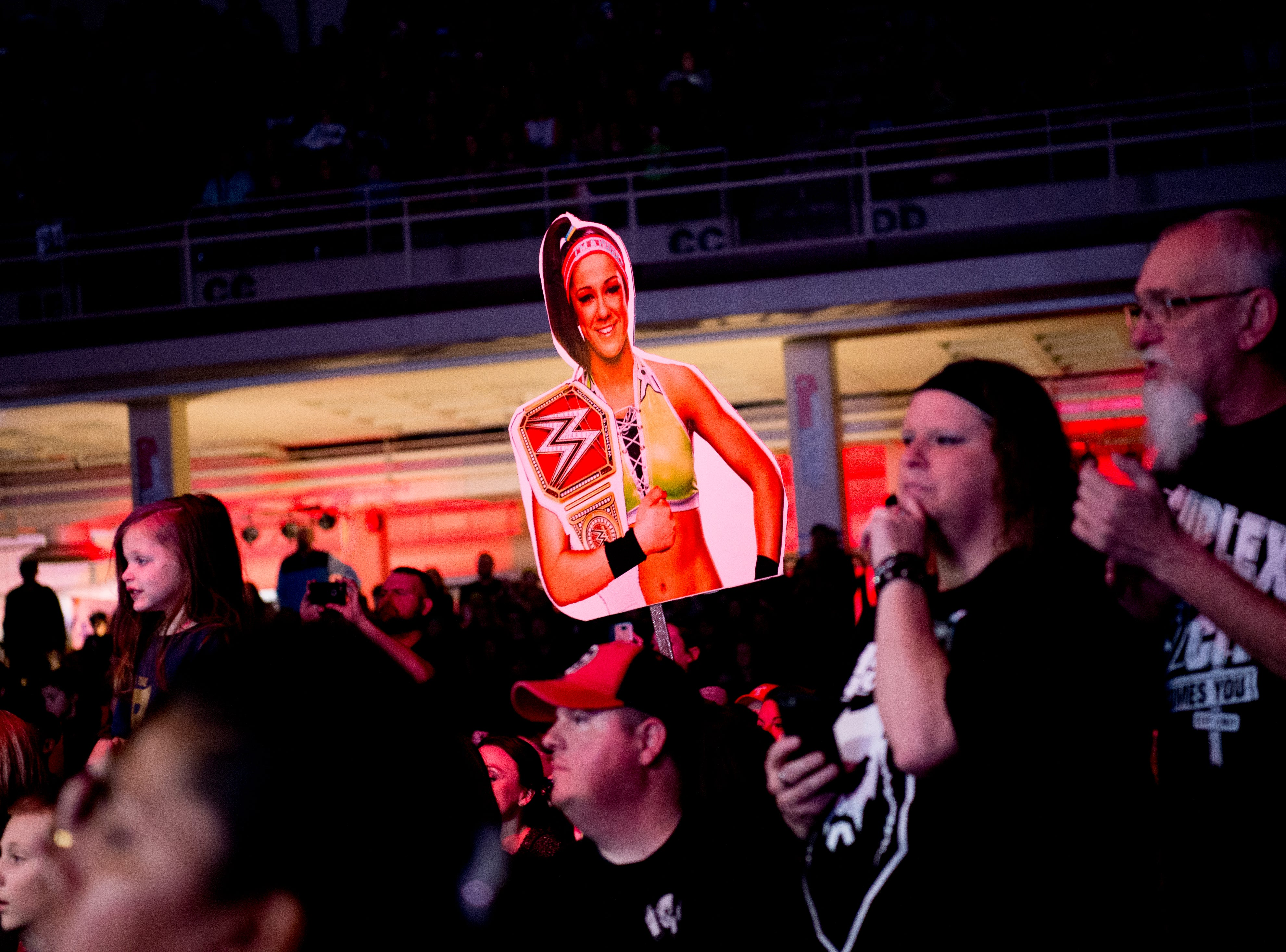 Fans hold poster cutouts of wrestlers during a WWE Live performance at the Knoxville Civic Coliseum in Knoxville, Tennessee on Saturday, January 12, 2019. *KNOXVILLE NEWS SENTINEL USE ONLY*
