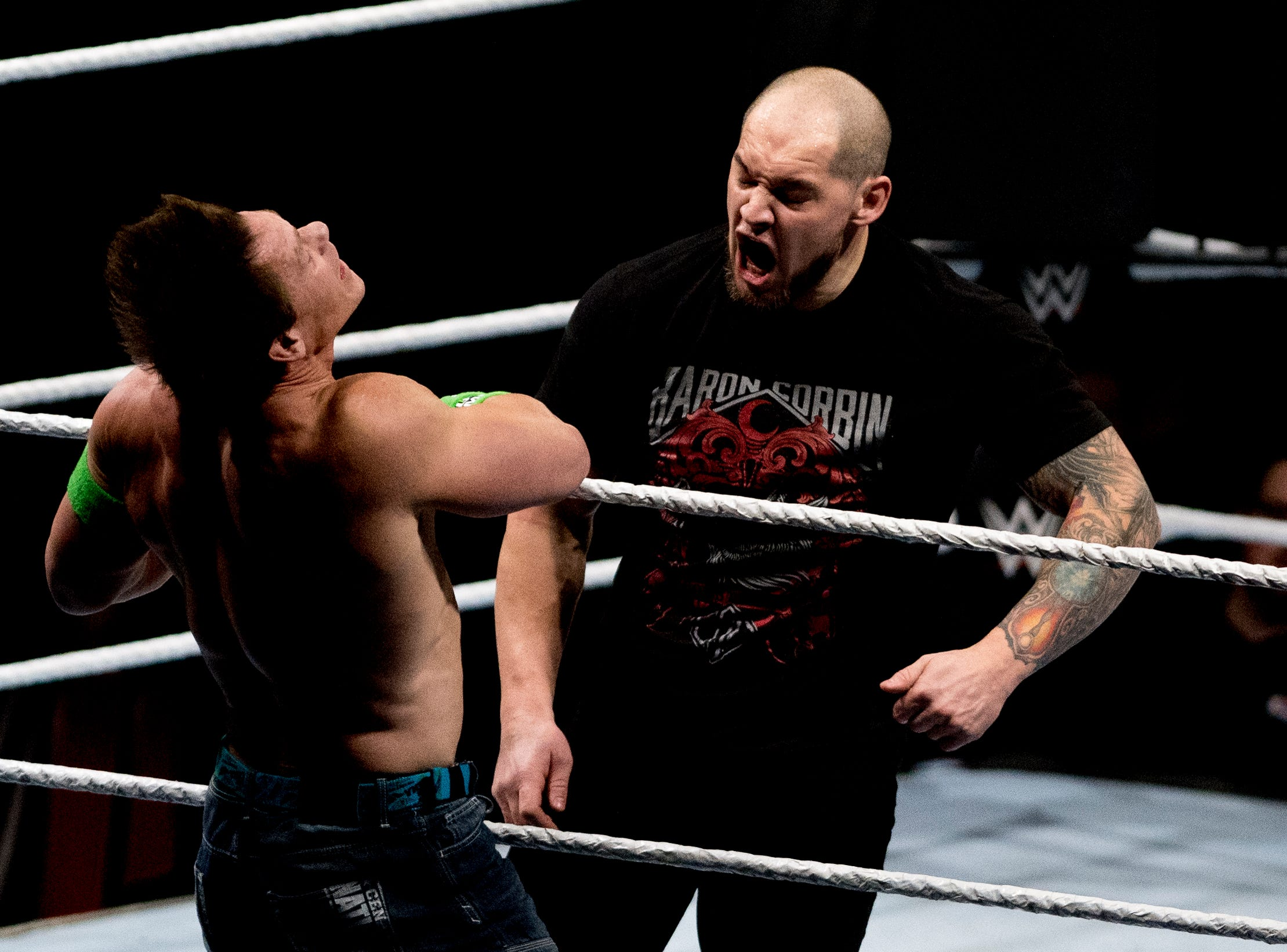Baron Corbin hits John Cena during a WWE Live performance at the Knoxville Civic Coliseum in Knoxville, Tennessee on Saturday, January 12, 2019. *KNOXVILLE NEWS SENTINEL USE ONLY*