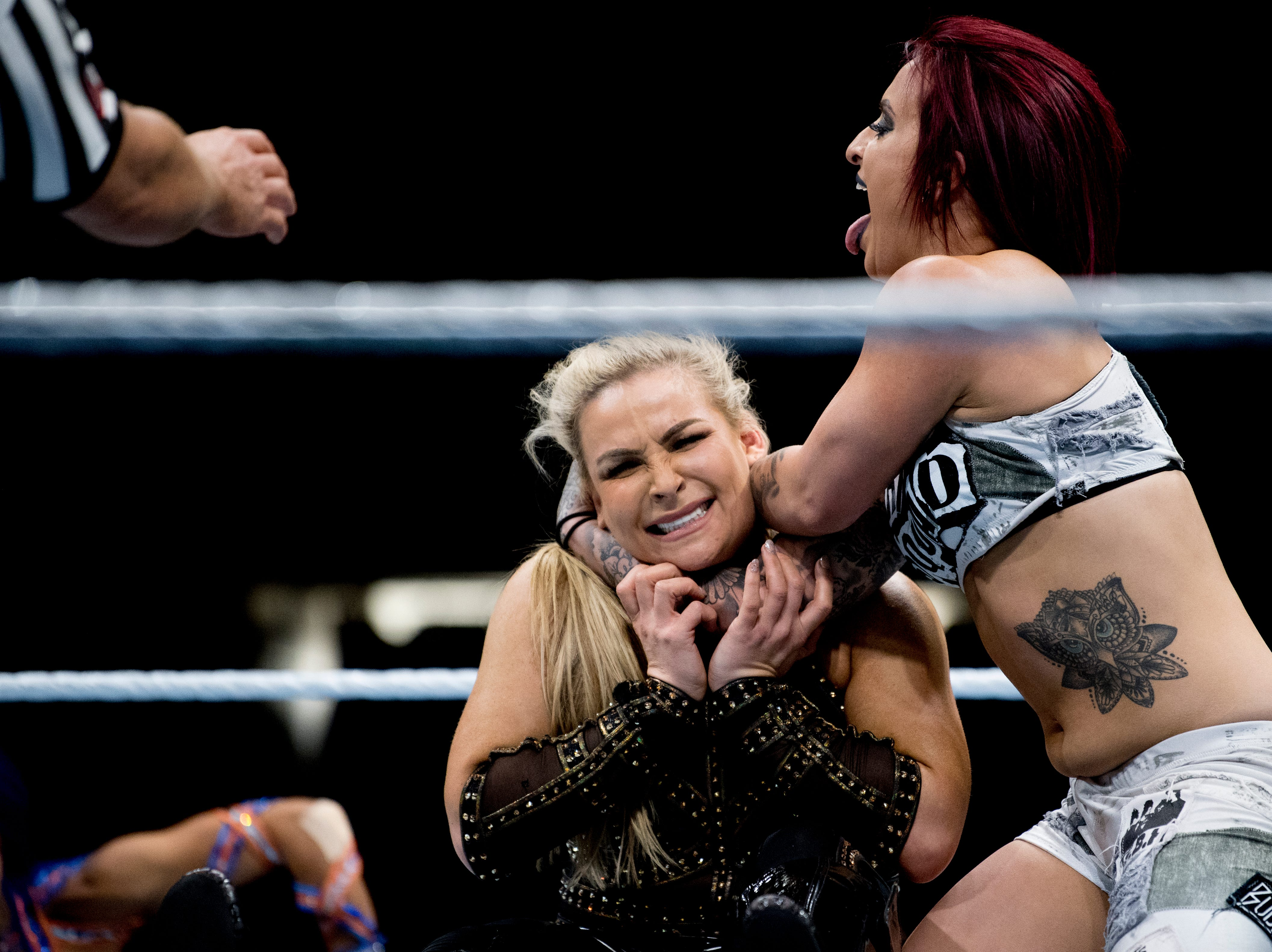 Ruby Riott wrestles Natalya during a WWE Live performance at the Knoxville Civic Coliseum in Knoxville, Tennessee on Saturday, January 12, 2019. *KNOXVILLE NEWS SENTINEL USE ONLY*