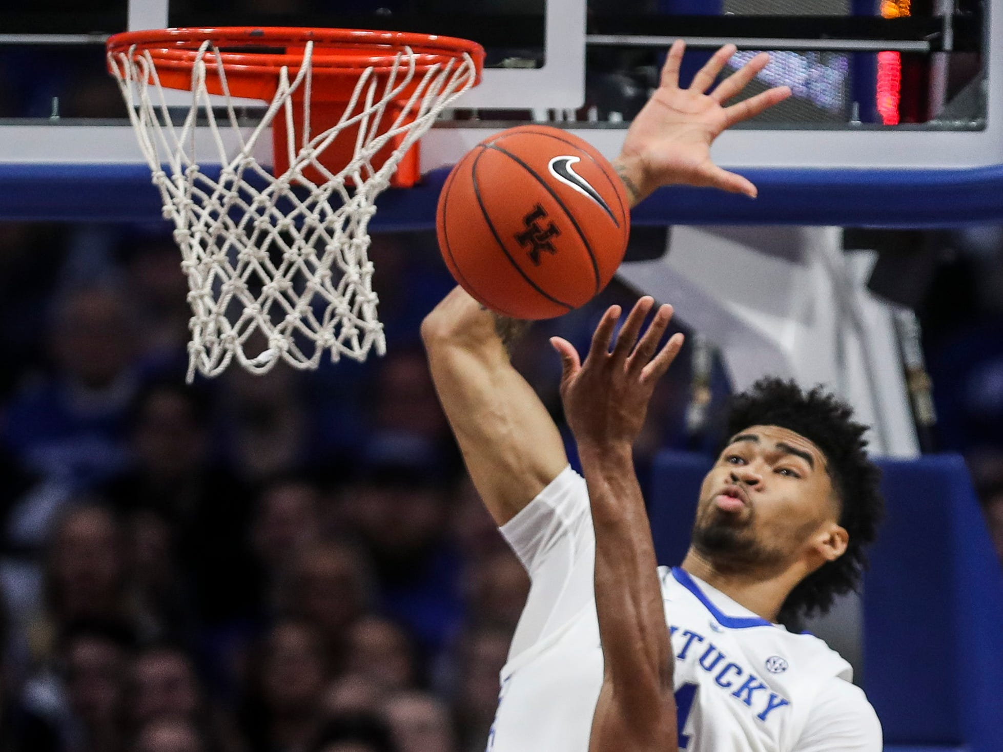Kentucky's Nick Richards blocked this shot but was called for the foul in the first half against Vandy Saturday night at Rupp Arena in Lexington. . January 12, 2019
