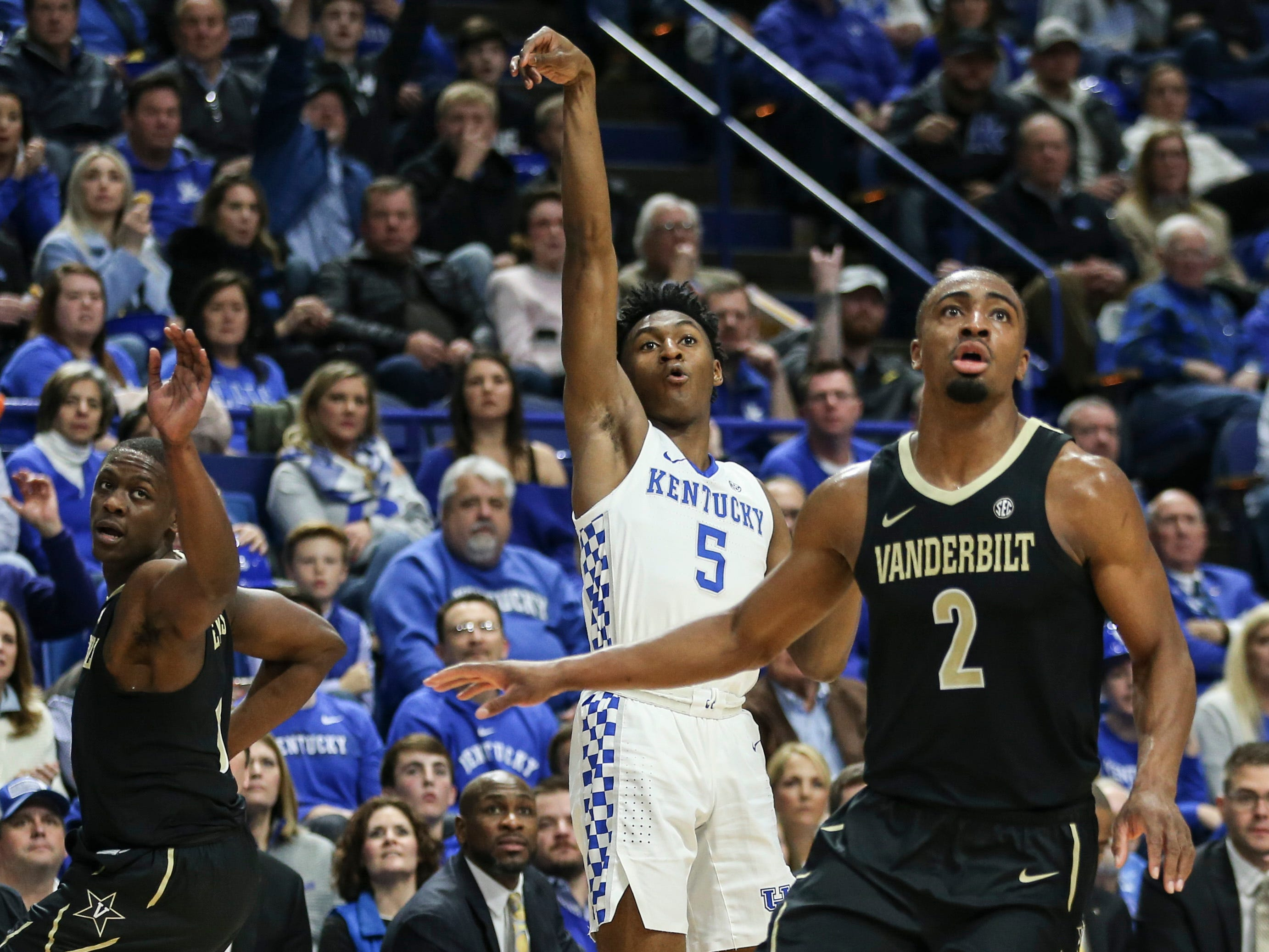 Kentucky's Immanuel Quickley hit this three-pointer to help spark the Wildcats in the first half against Vandy Saturday night at Rupp Arena in Lexington. Quickley finished with 12 points. January 12, 2019