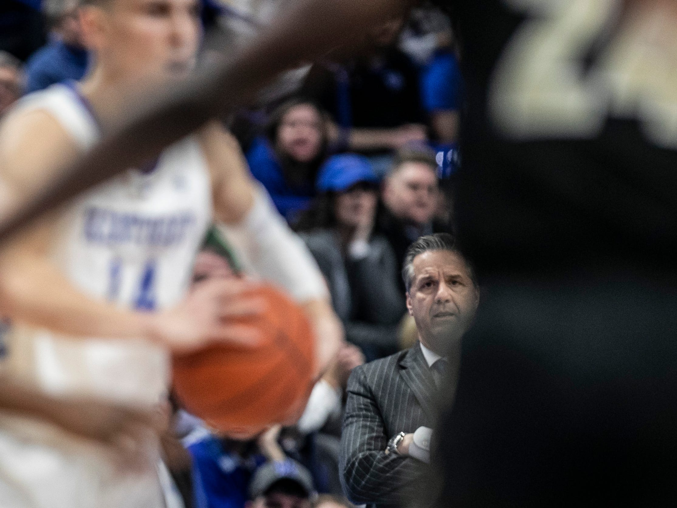 """We start the game and just get smashed,"" said Kentucky head coach John Calipari, watching his team in the first half against Vanderbilt. ""As the game goes on, if you stay desperate you will have your chances."" January 12, 2019"