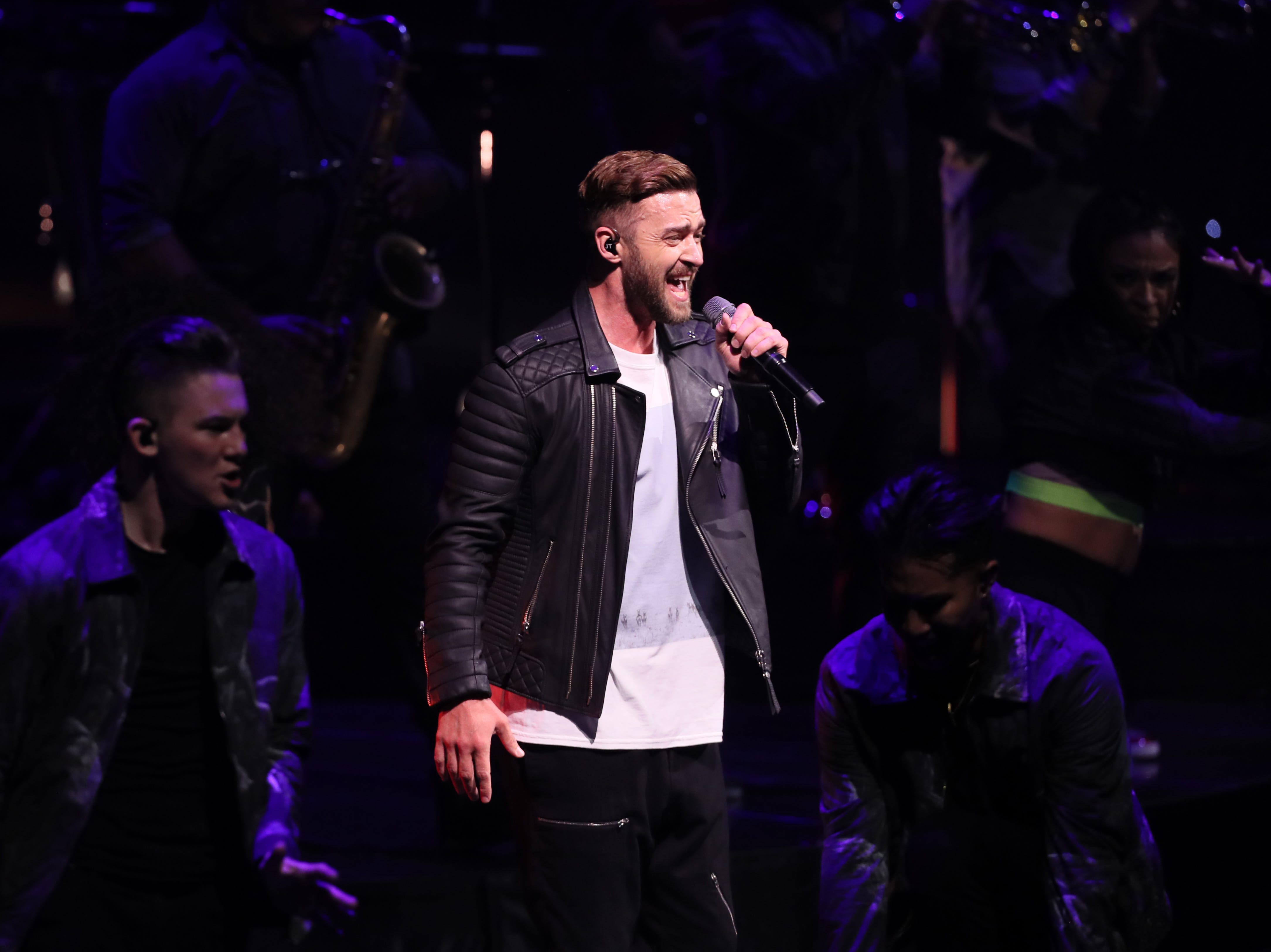 Justin Timberlake performs at the FedExForum, a part of his Man of the Woods tour on Saturday, Jan. 12, 2019.