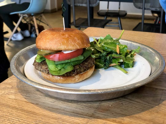 The Silo Burger at City Silo in East Memphis. This vegetarian burger is made from black beans, kidney beans and green lentils.