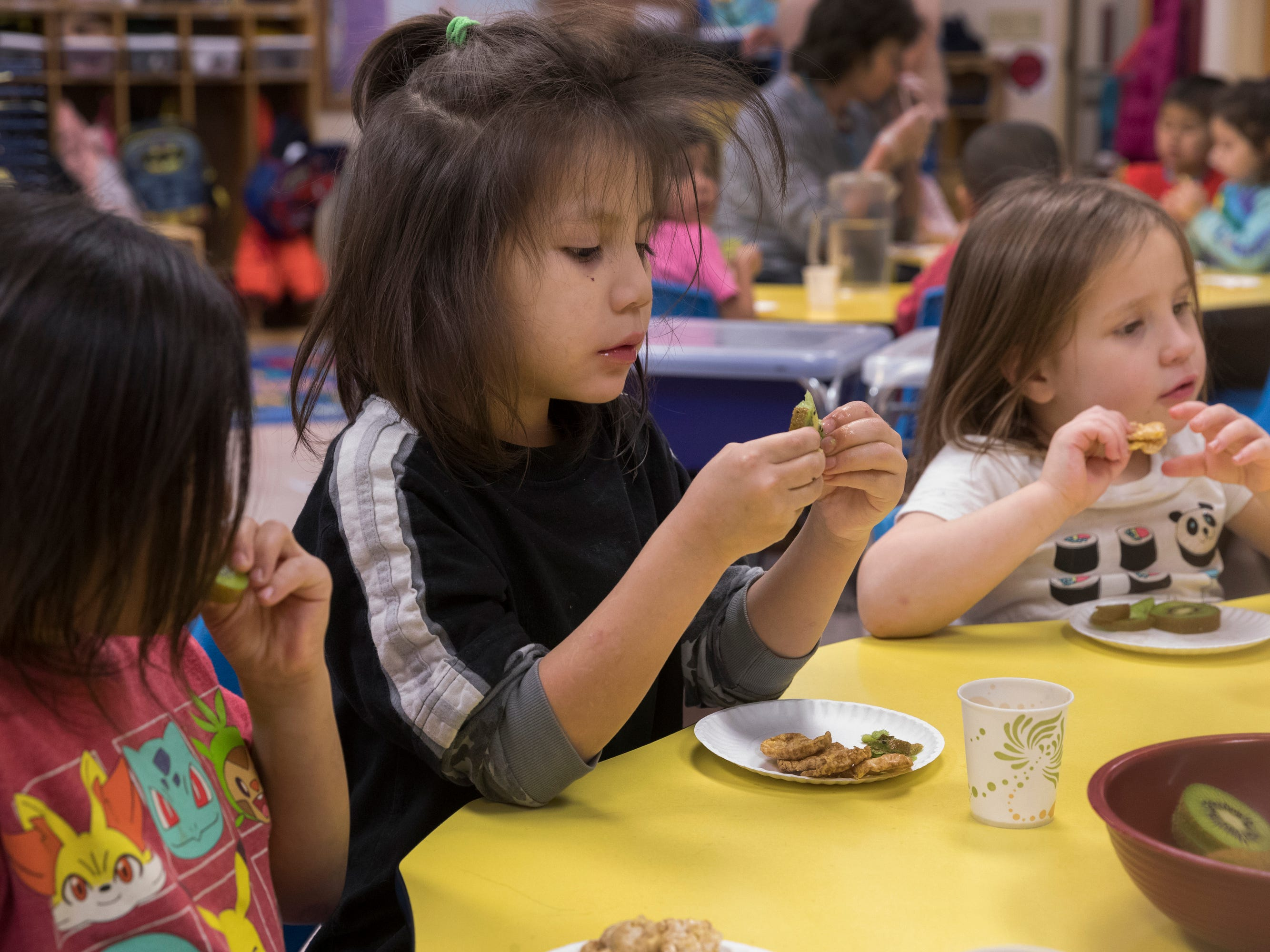 Liam Polar, 5, eats his afternoon snack during his Head Start class on the Oneida Indian Reservation.