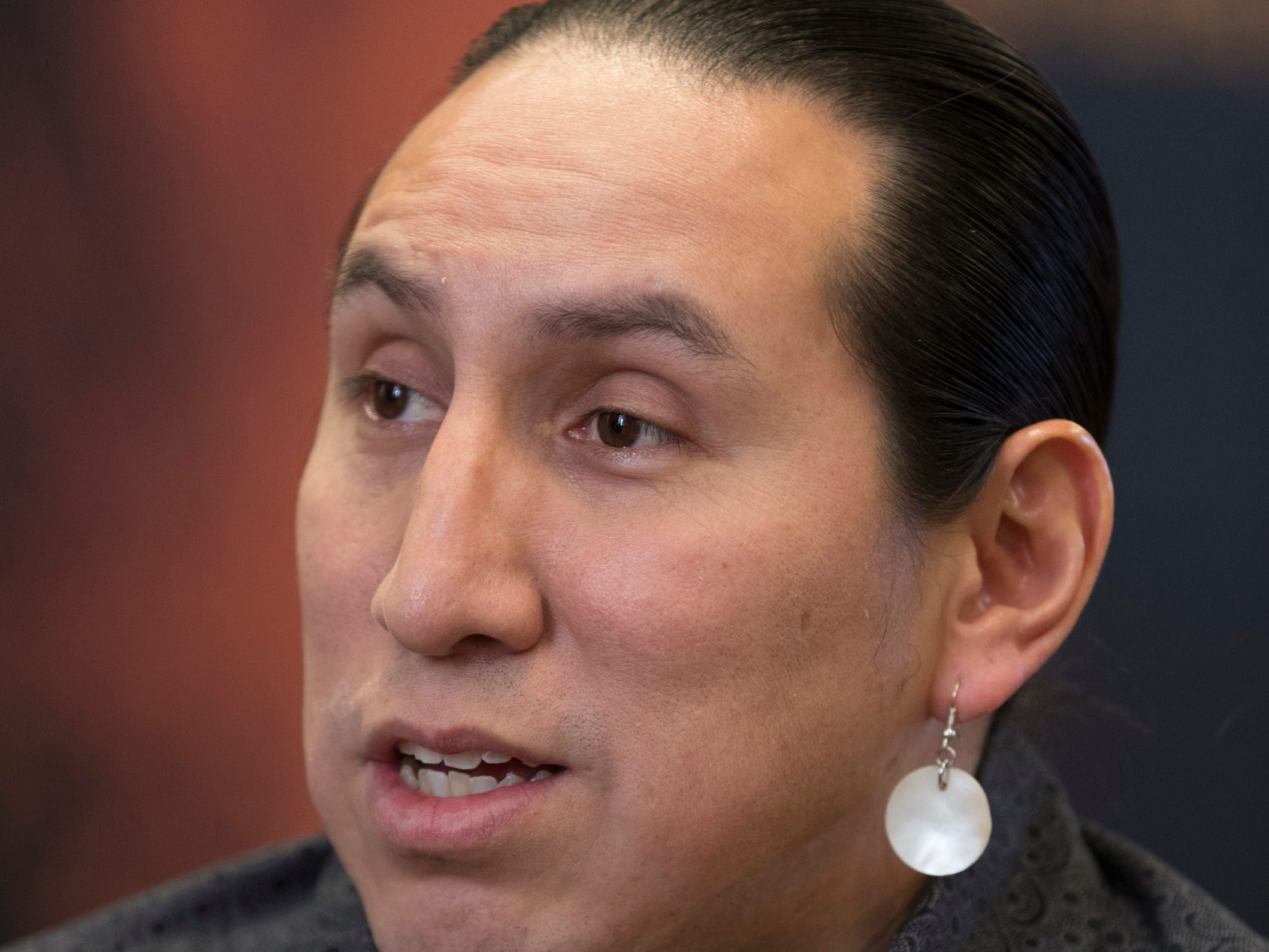 Brandon Stevens, vice chairman of the Oneida Nation, is shown during an interview Wednesday, Jan. 9, on the Oneida Indian Reservation. The tribe is faring better with the shutdown of the federal government than other tribes because of planning done in the wake of the 2013 shutdown.