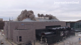 The massive steel roof of the Bradley Center was dislodged by explosives Sunday morning.