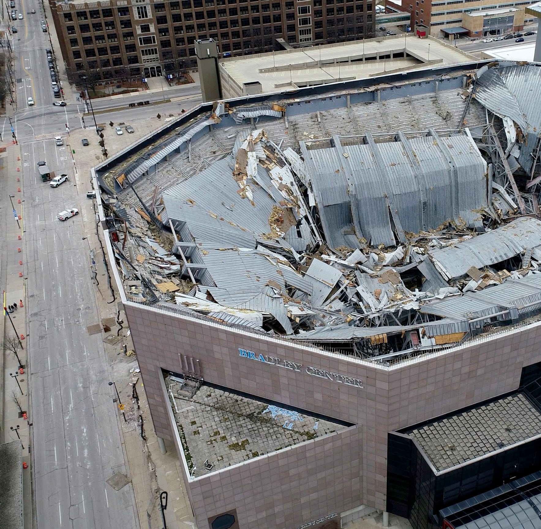 Check out the implosion of the Bradley Center roof from INSIDE the building