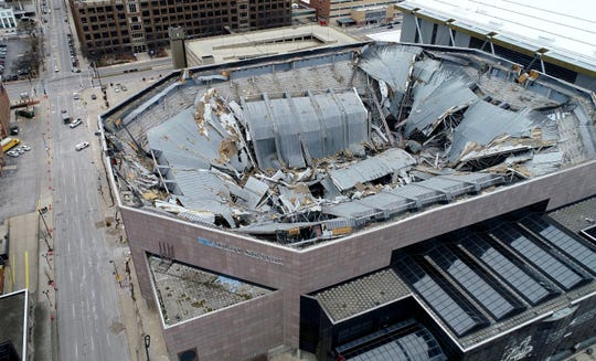 A view from a drone shows a debris-filled bowl after the Milwaukee Bucks blew the massive steel roof off the Bradley Center in Milwaukee on Sunday.