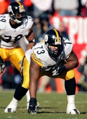 Pittsburgh Steelers offensive guard Kendall Simmons  in action during the AFC championship football game against the Denver Broncos Sunday, Jan. 22, 2006 in Denver.