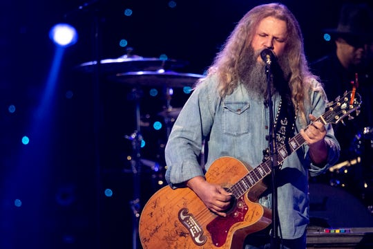 Jamey Johnson performs during the Willie: Life & Songs of an American Outlaw concert at Bridgestone Arena in Nashville, Tenn., Saturday, Jan. 12, 2019.