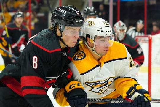 Hurricanes right wing Saku Maenalanen (8) and Predators left wing Kevin Fiala (22) go after the puck during the first period Sunday.