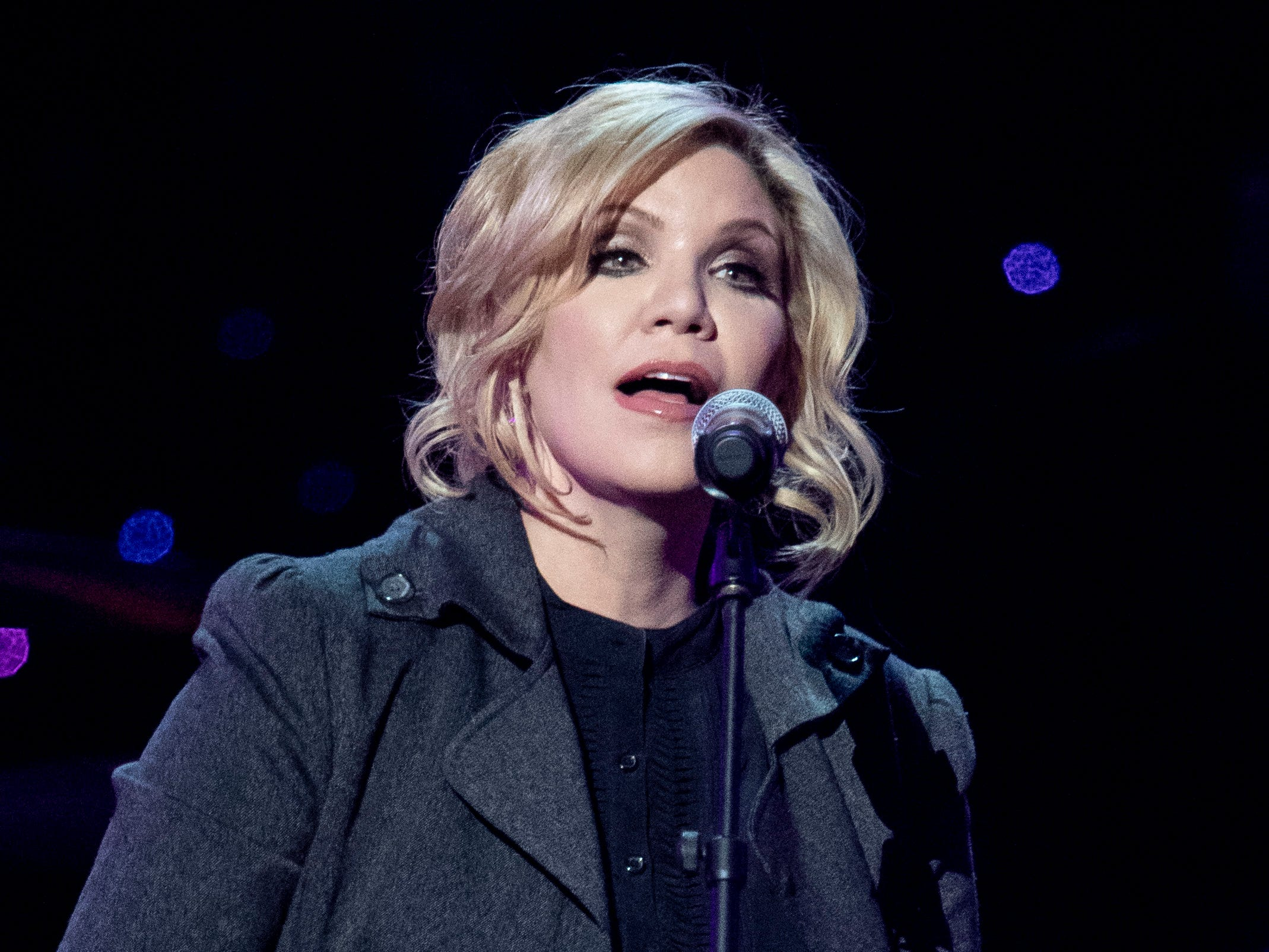 Alison Krauss performs during the Willie: Life & Songs of an American Outlaw concert at Bridgestone Arena in Nashville, Tenn., Saturday, Jan. 12, 2019.