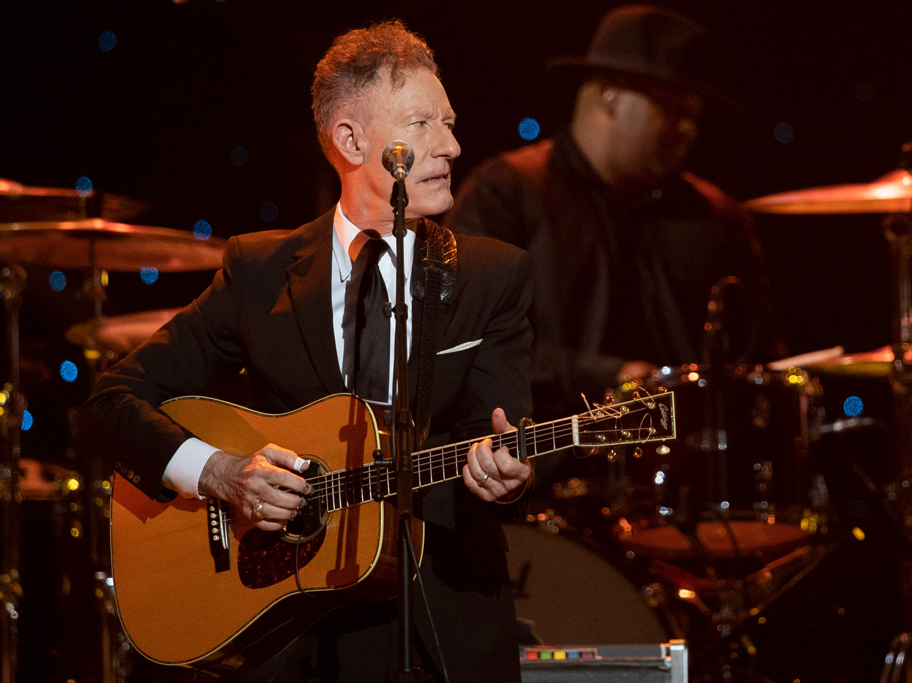 Lyle Lovett performs during the Willie: Life & Songs of an American Outlaw concert at Bridgestone Arena in Nashville, Tenn., Saturday, Jan. 12, 2019.